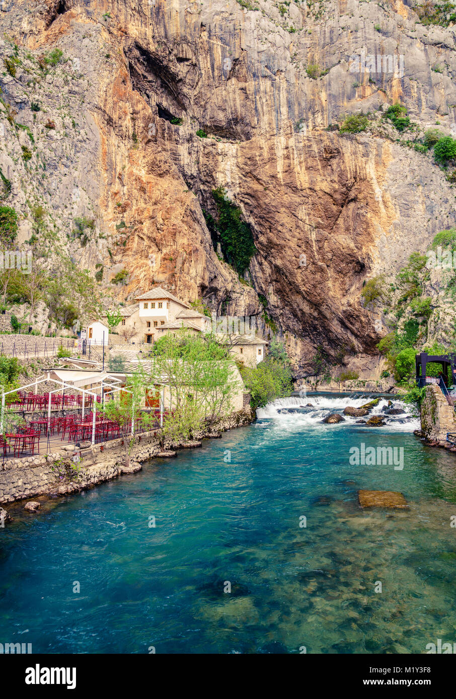 Dervish monastery or tekke at the Buna River spring in the town of Blagaj, Bosnia Stock Photo