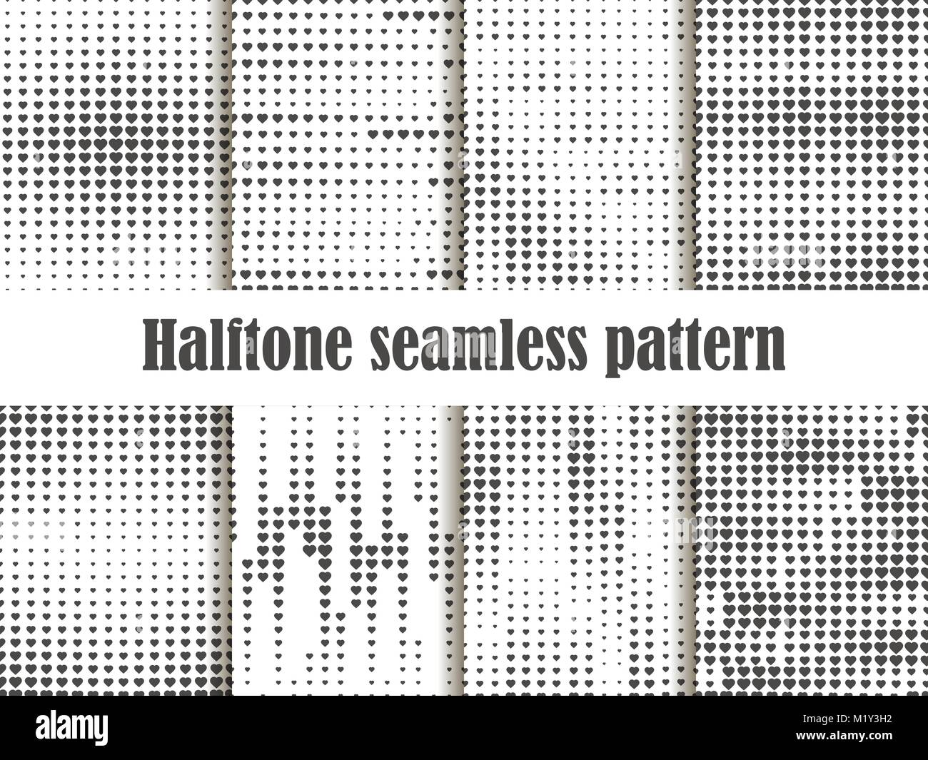 Halftone seamless pattern set, dotted backdrop with heart pop art style. St. Valentine's Day a collection of - Stock Image