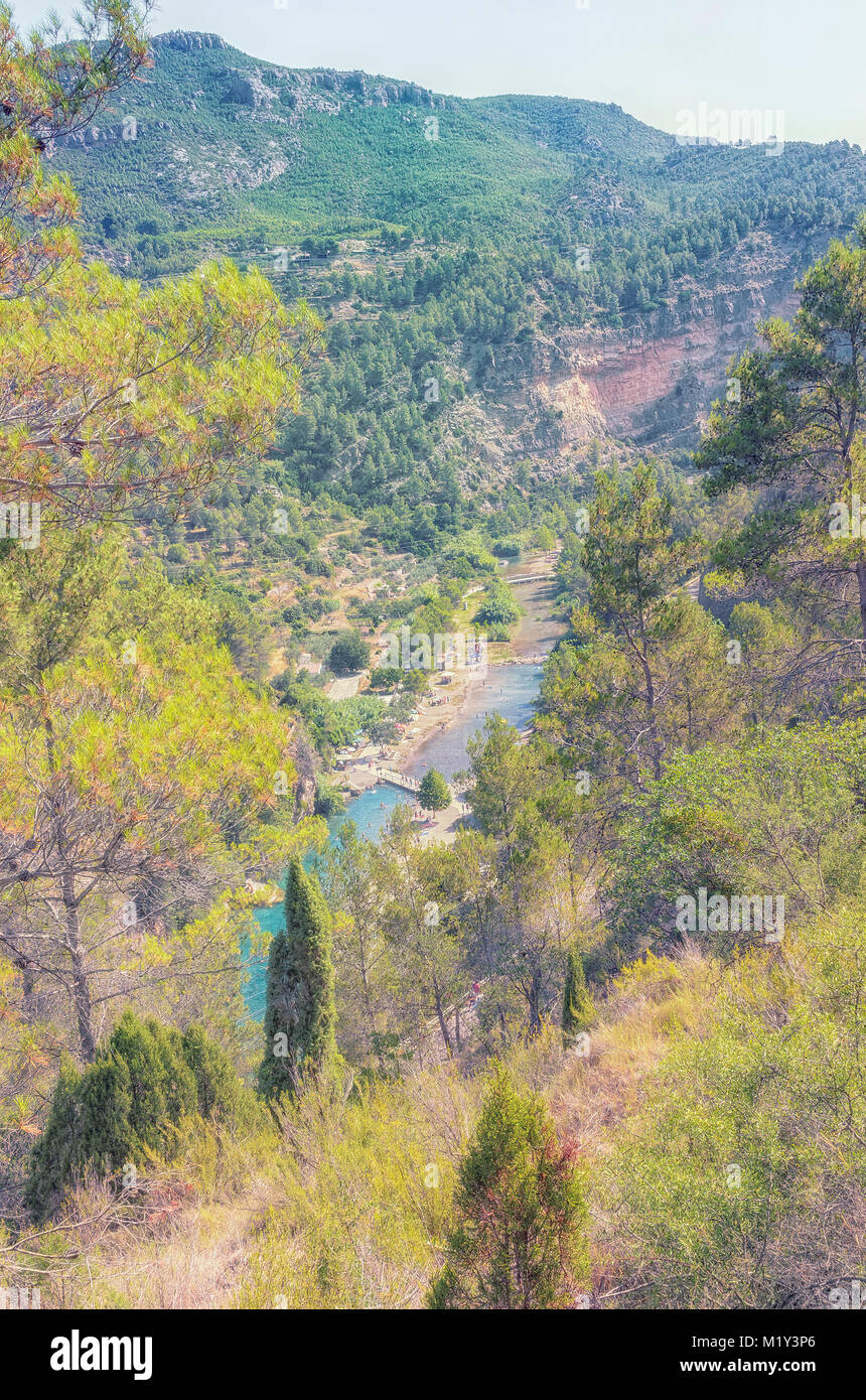 Mijares river. Viewpoint from a middle altitude. Swimming area - Spring of the bathes -, in Montanejos town, inside Stock Photo