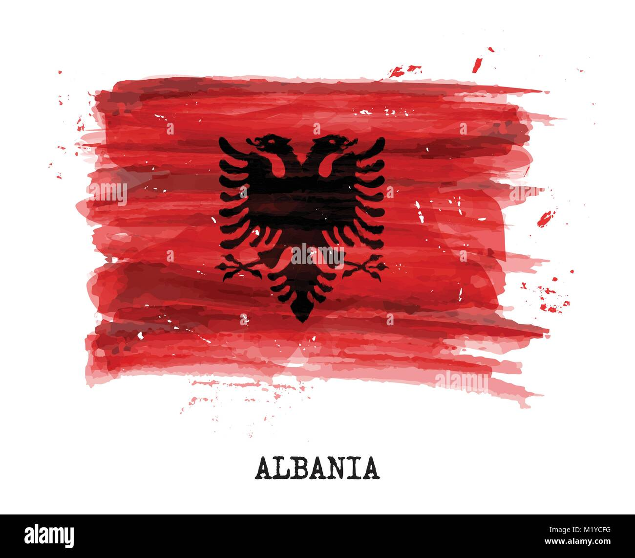 Watercolor painting flag of Alabia . Vector . - Stock Vector