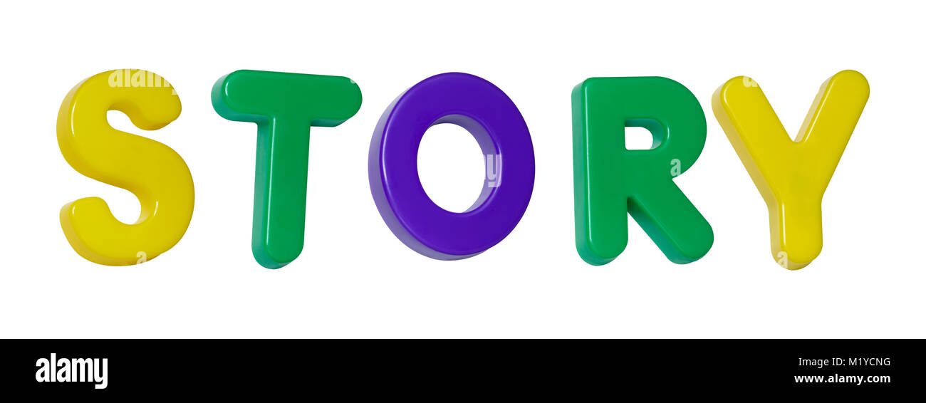 The word 'story' made up from coloured plastic letters - Stock Image