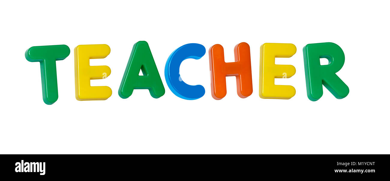 The word 'teacher' made up from coloured plastic letters - Stock Image