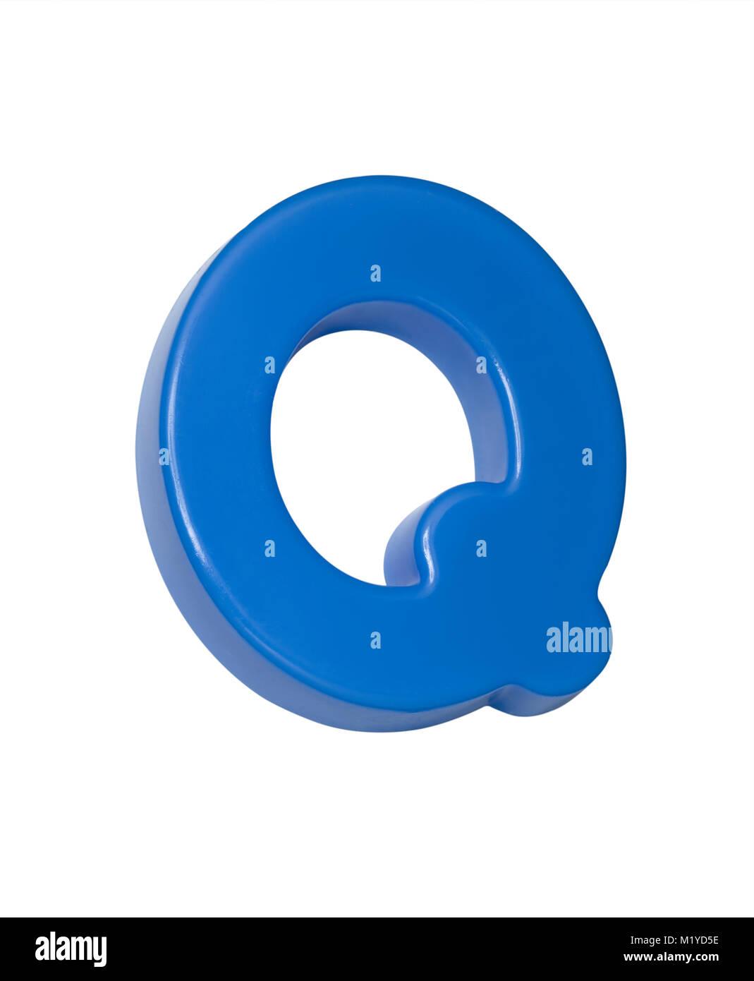 A cut out shot of a blue plastic letter 'Q' - Stock Image