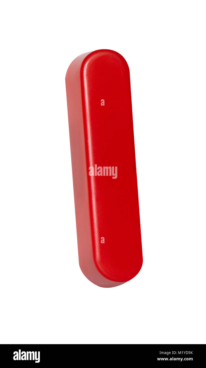 "A cut out shot of a Red plastic letter ""I"" Stock Photo"