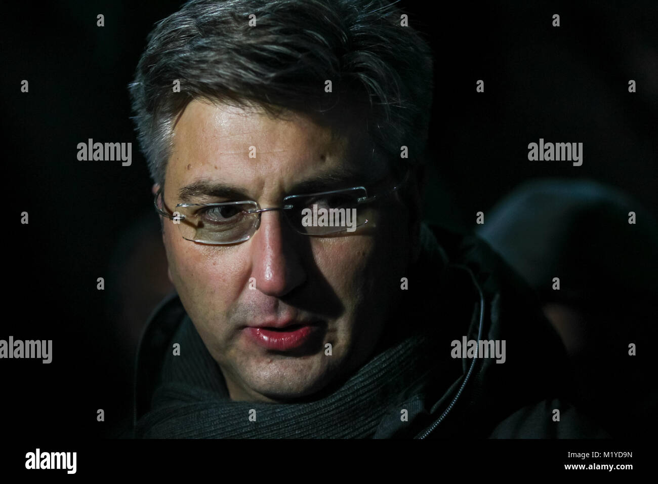 ZAGREB, CROATIA - JANUARY 4, 2018 : Croatian Prime Minister Andrej Plenkovic gives a statement to journalists at - Stock Image