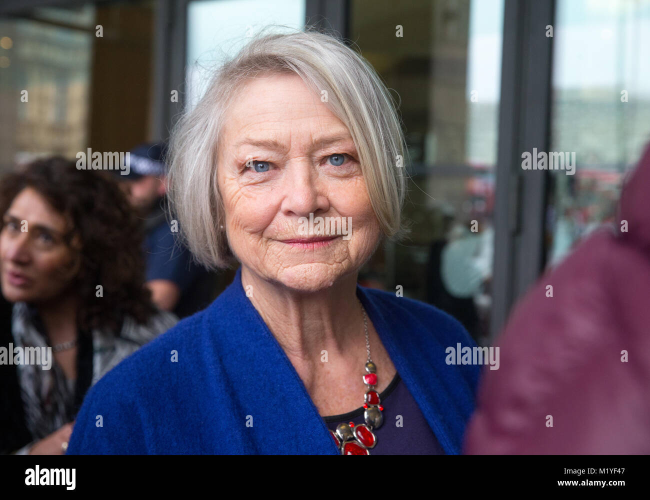 Journalist, Kate Adie, arrives at Portcullis House to support Carrie Gracie at the inquiry into fair pay for women - Stock Image