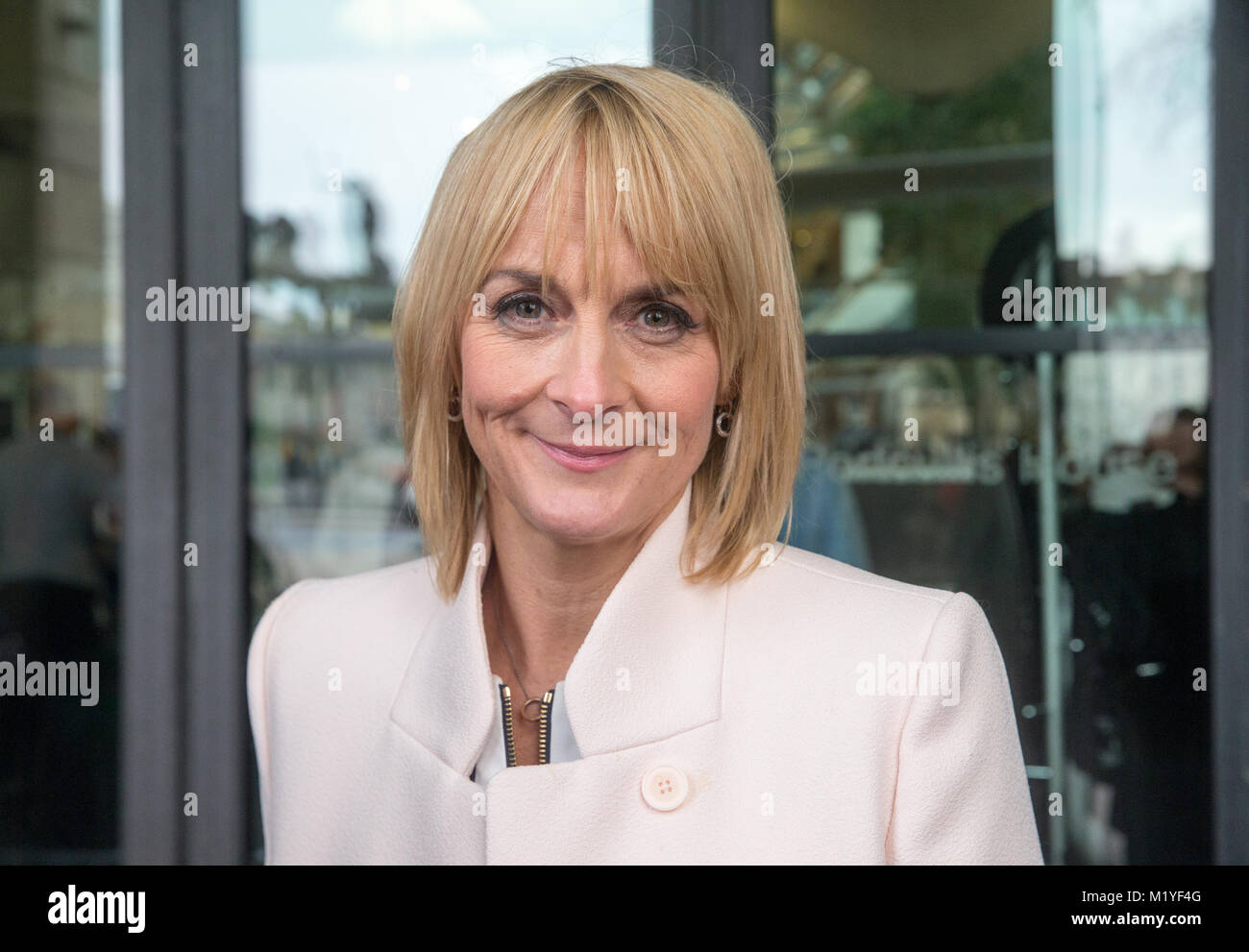 Journalist and Television presenter, Louise Minchin, arrives at Portcullis House to support Carrie Gracie at the - Stock Image