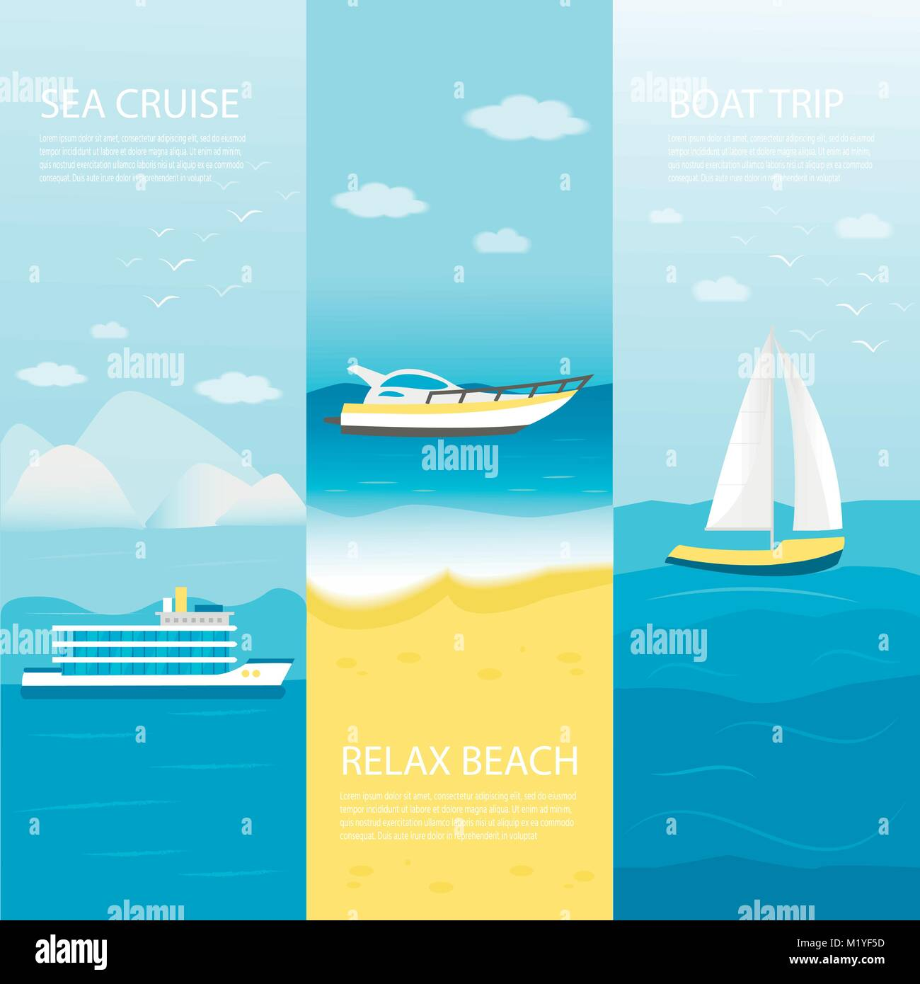 Collection of horizontal banner with sea, ocean and nautical vehicles: sail boat, ship, vessel, luxury yacht, speedboat. - Stock Vector