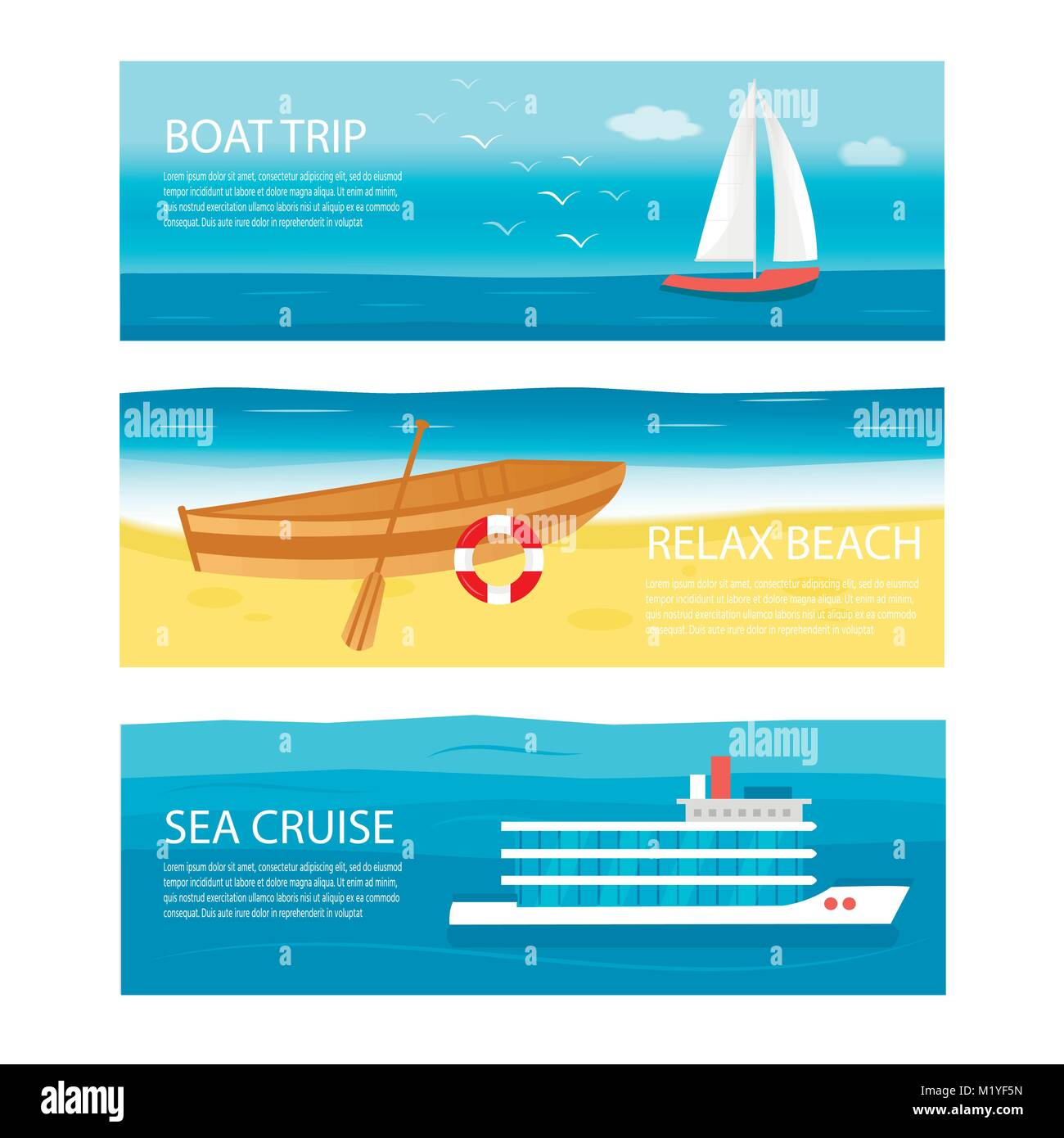 Collection of horizontal banner with sea, ocean and sail boat, ship, vessel, luxury yacht, speedboat, rowboat with - Stock Vector