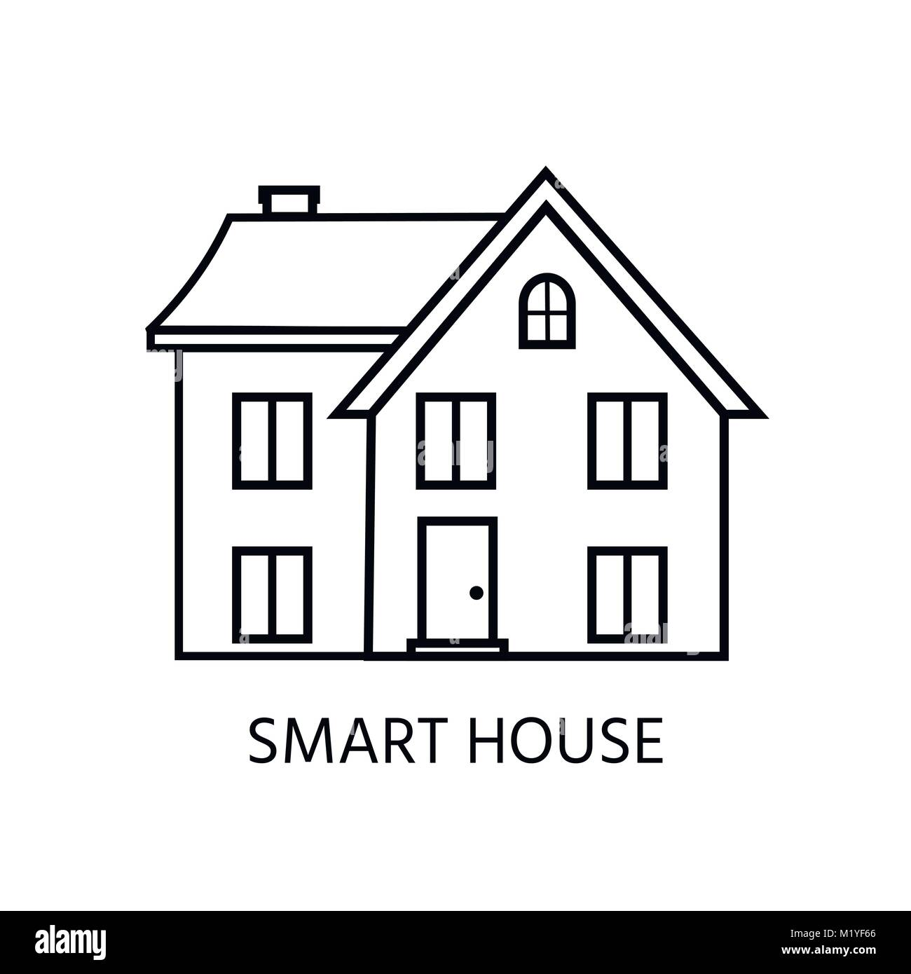 Modern line icon with cozy home, house, cottage. Smart building.  Flat design urban landscape. - Stock Image
