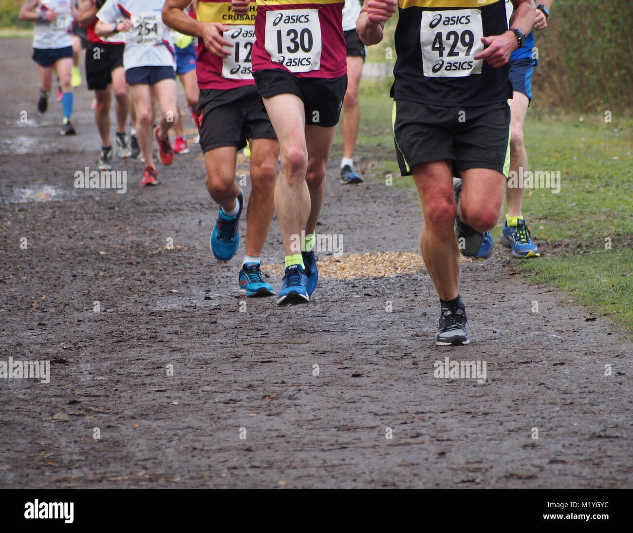 The legs of runners taking part in a trail, off road race - Stock Image