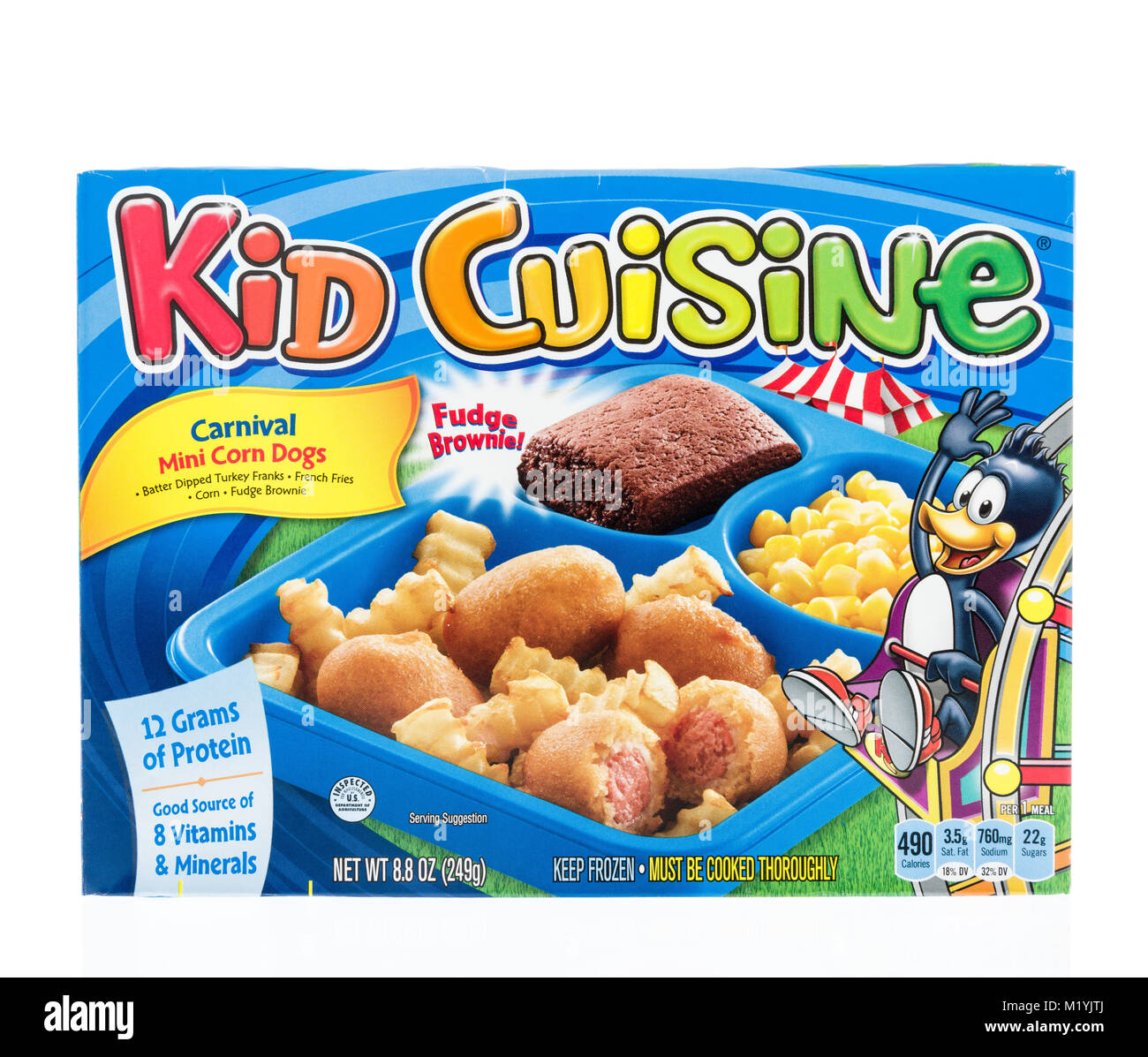 Winneconne, WI - 31 January 2018: A Kid Cuisine TV dinner with mini corn dogs on an isolated background. - Stock Image