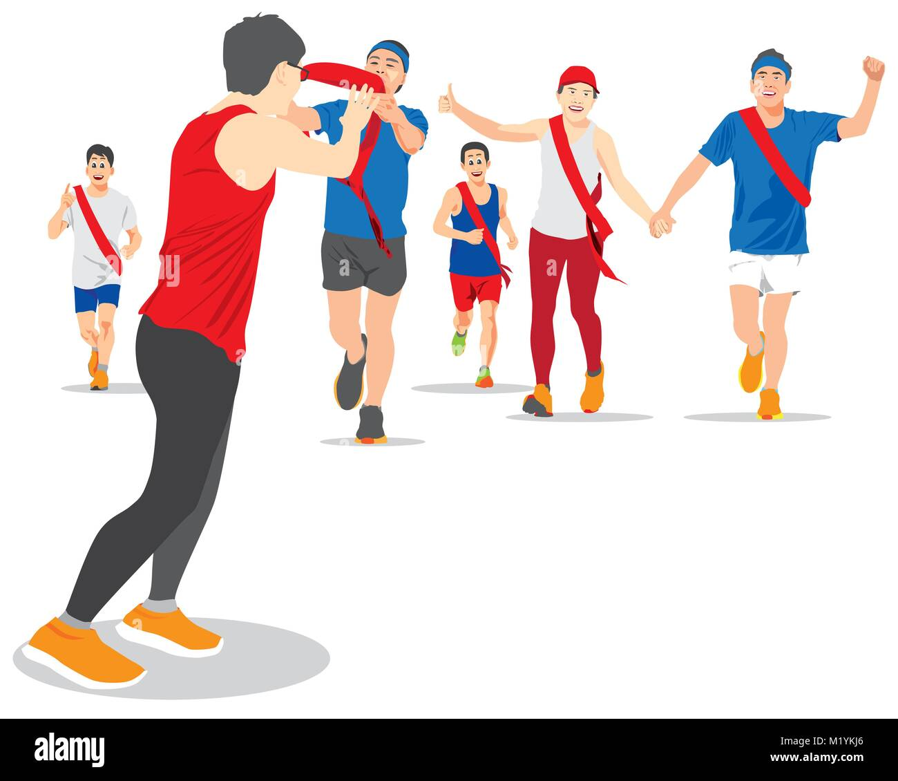 EKIDEN MARATHON WAS BORN IN JAPAN, THE RELAY RUNNERS HAND OVER THEIR SASH TO THE NEXT RUNNER. - Stock Image