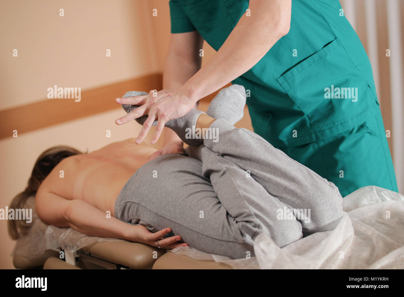 Osteopathy manual therapy for woman - Stock Image