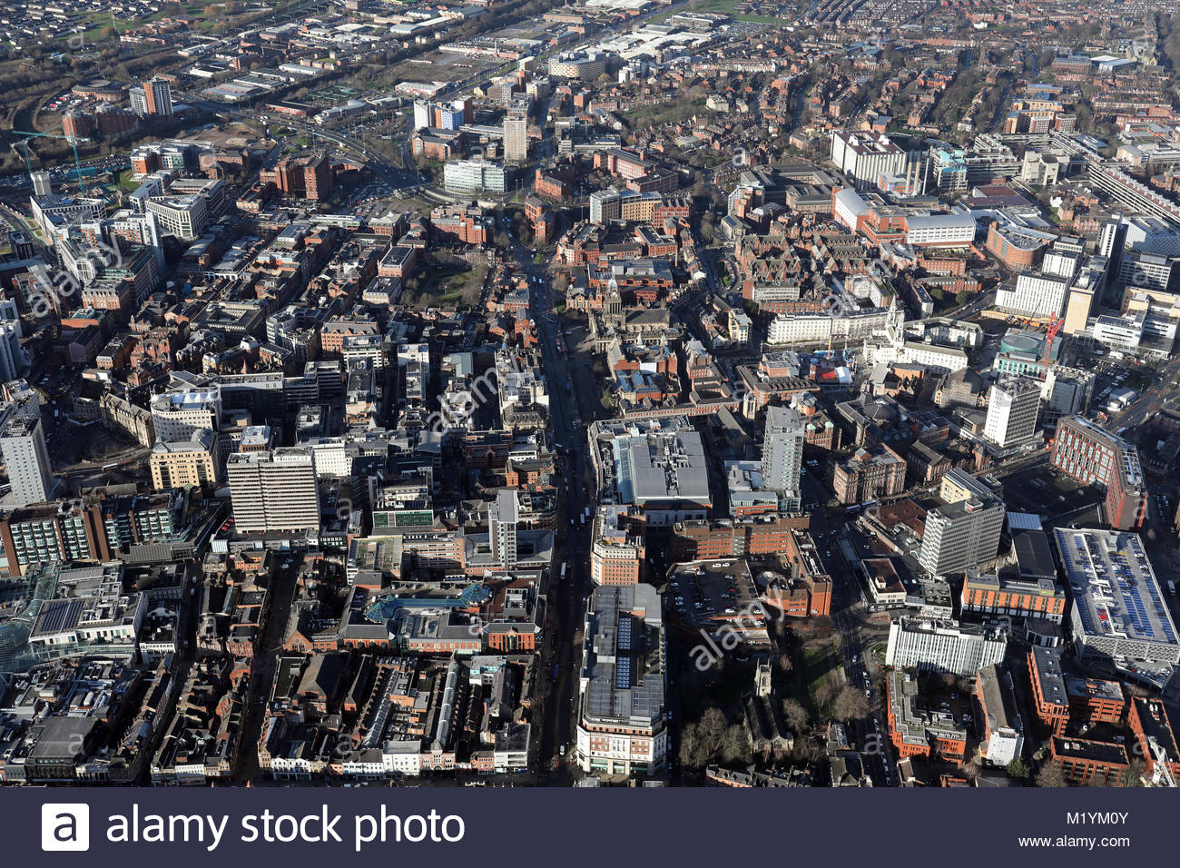 aerial view of Leeds city centre 2018, UK Stock Photo