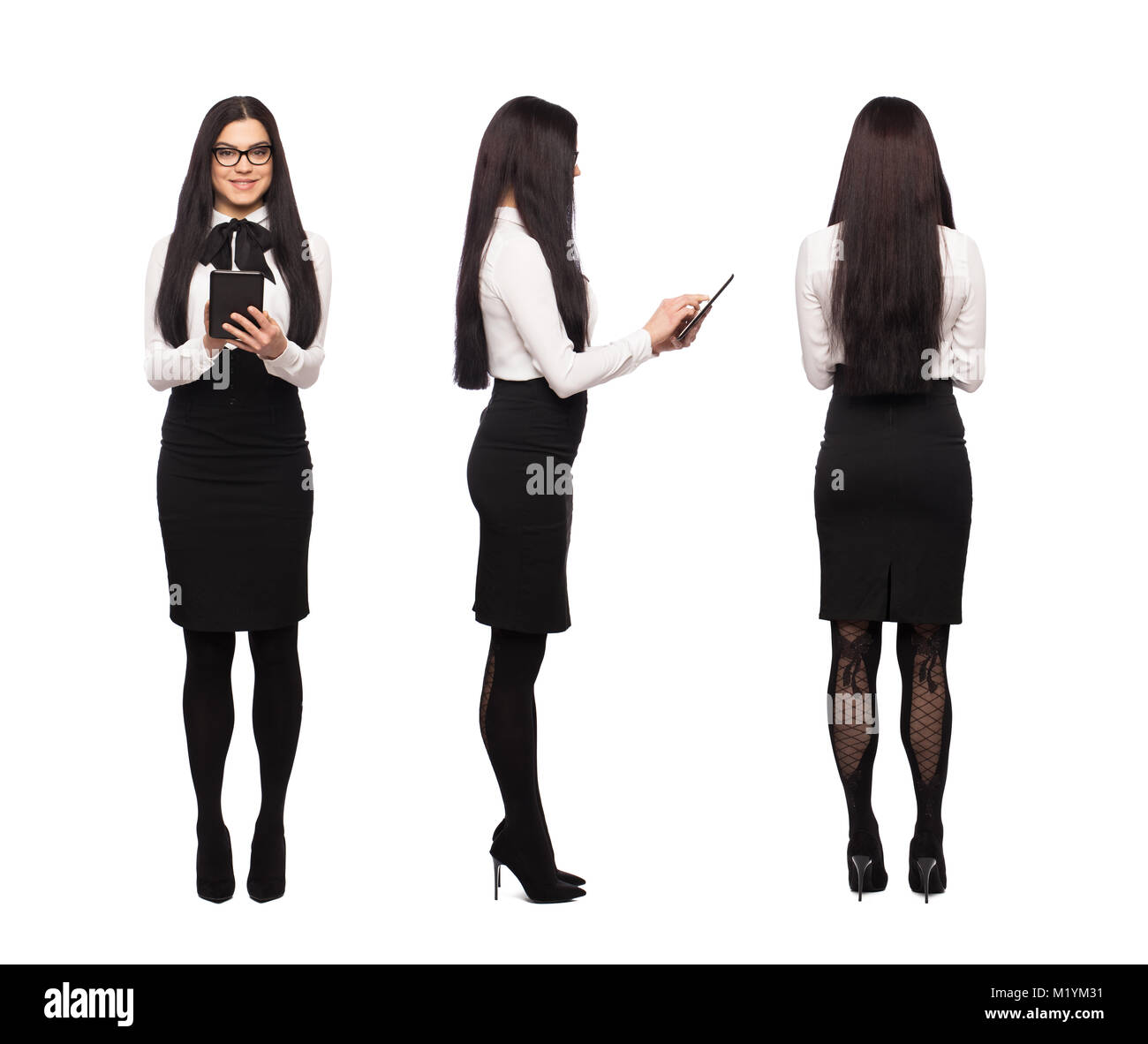 Smart caucasian businesswoman in formal wear using tablet, front, side, back view, isolated on white - Stock Image