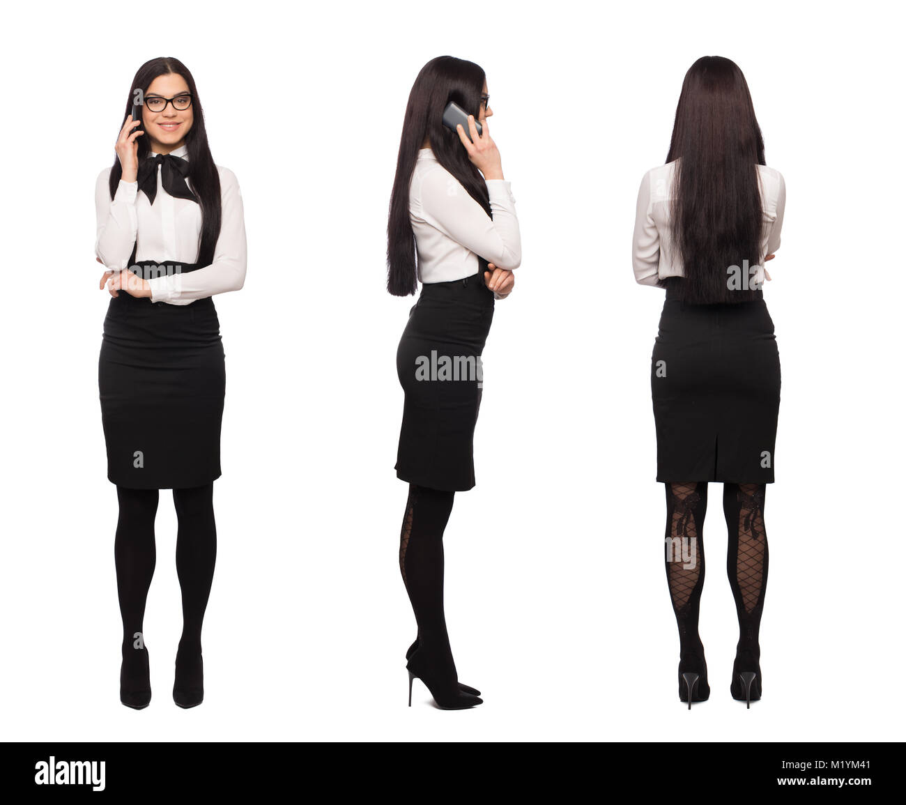 Happy smart caucasian businesswoman in formal wear calling by phone, front side back view, isolated on white - Stock Image