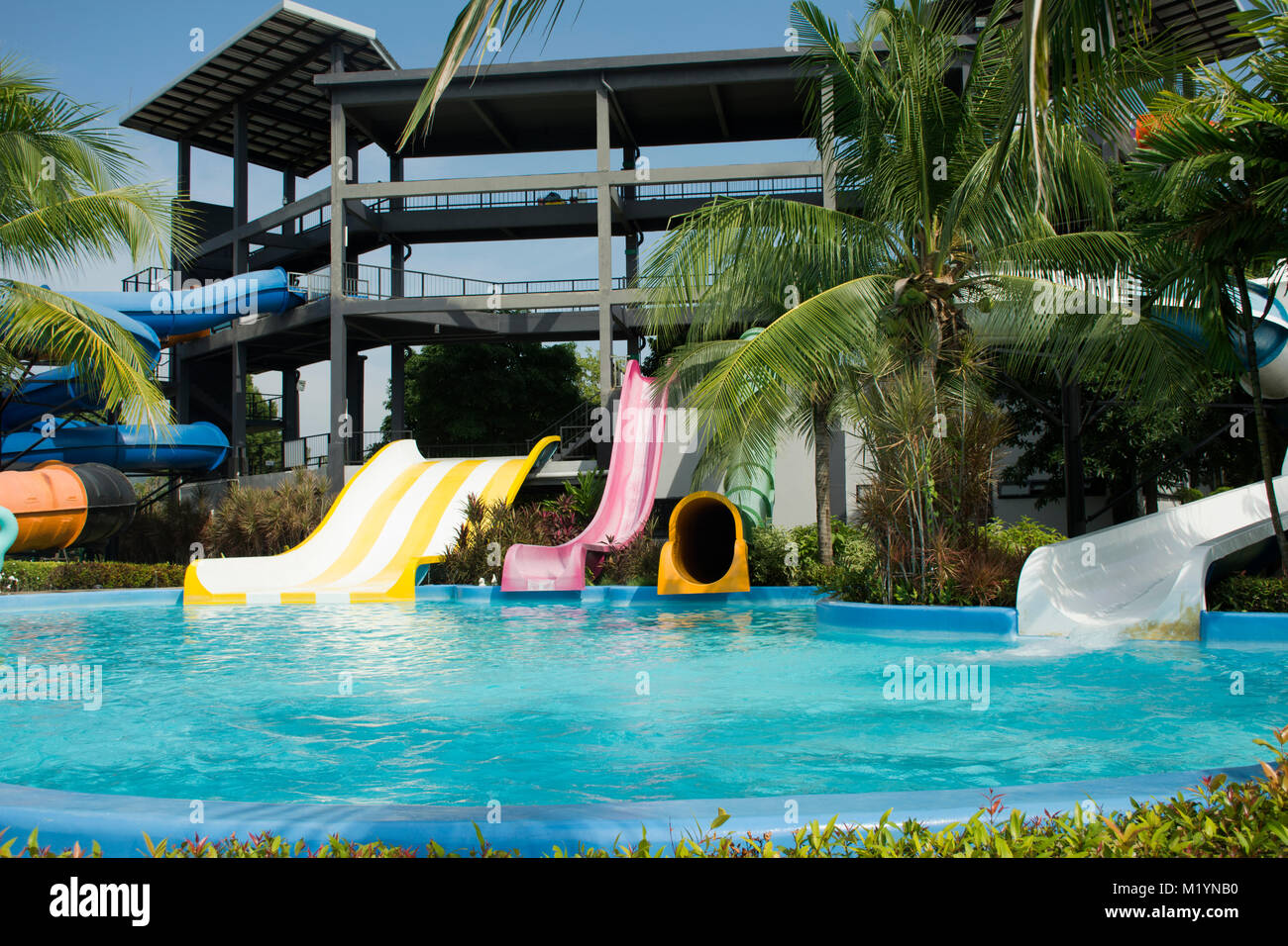 Big Slide Water And In Pool At Outdoor For People Playing Swimming Park Chonburi Thailand