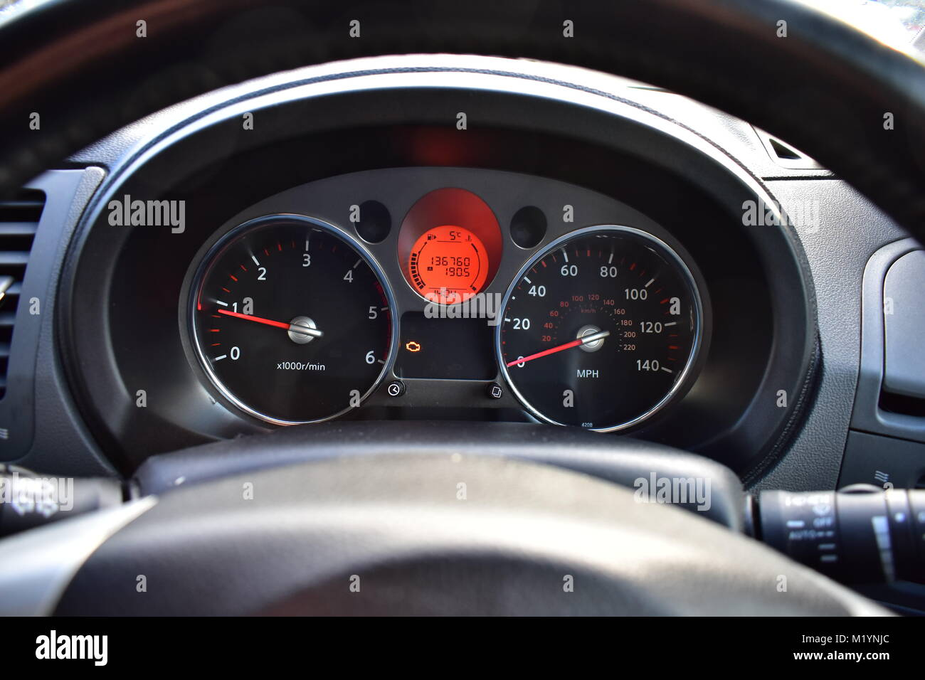 Rev Counter Car Dials Stock Photos & Rev Counter Car Dials