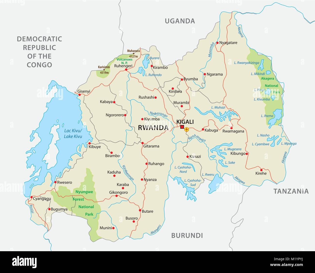 rwanda road and national park vector map - Stock Vector
