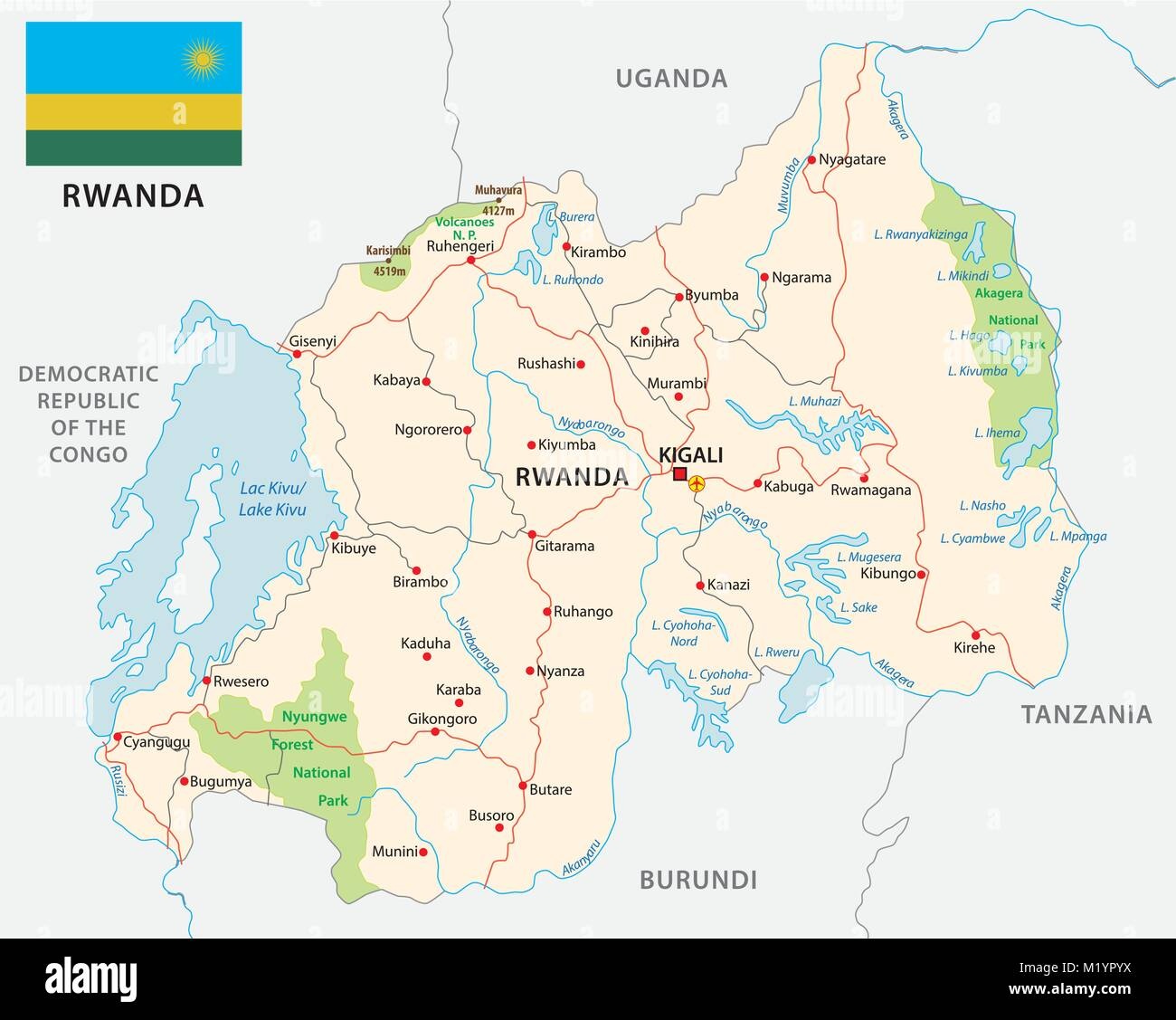 rwanda road and national park vector map with flag - Stock Vector