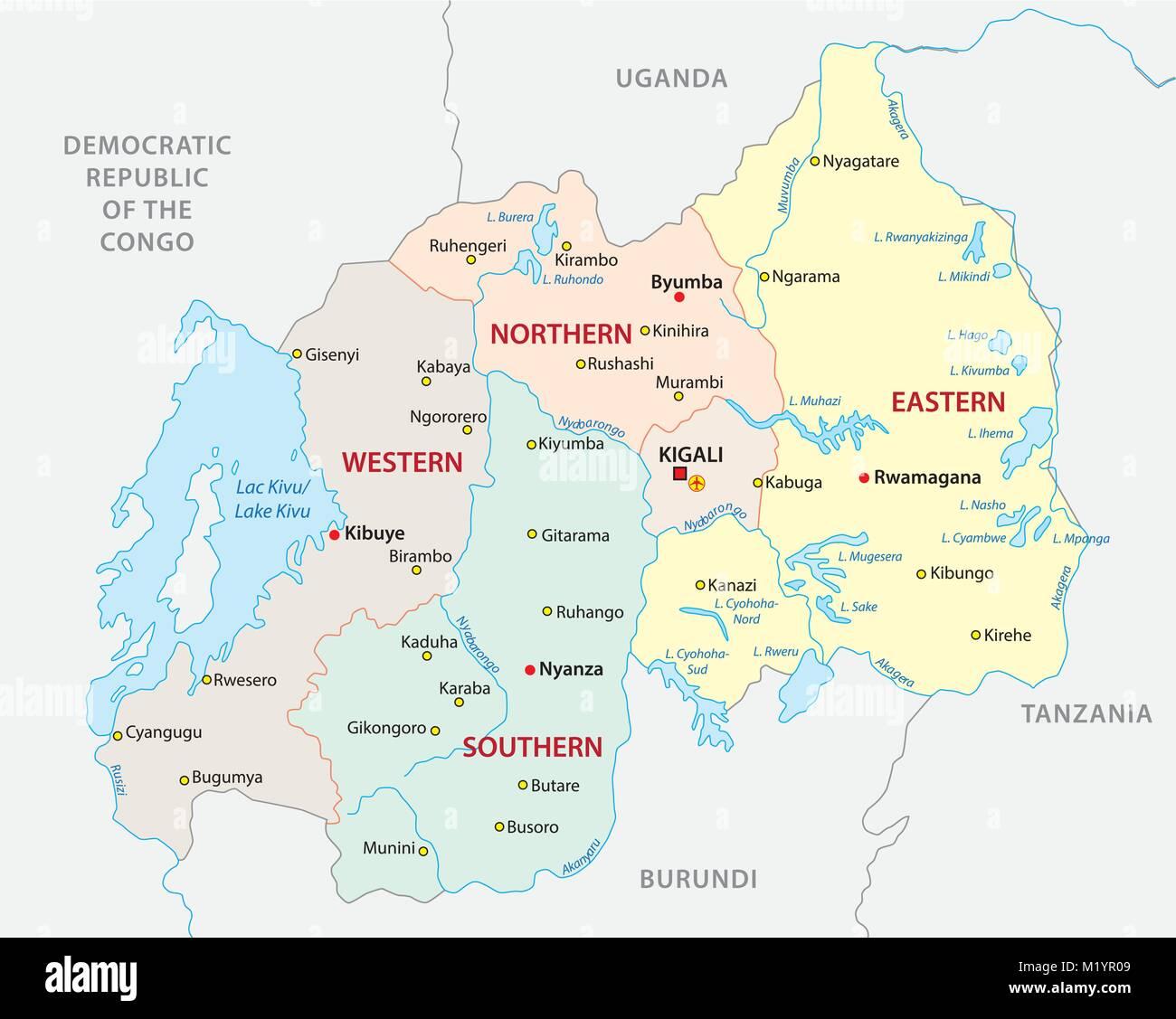 rwanda administrative and political vector map - Stock Vector