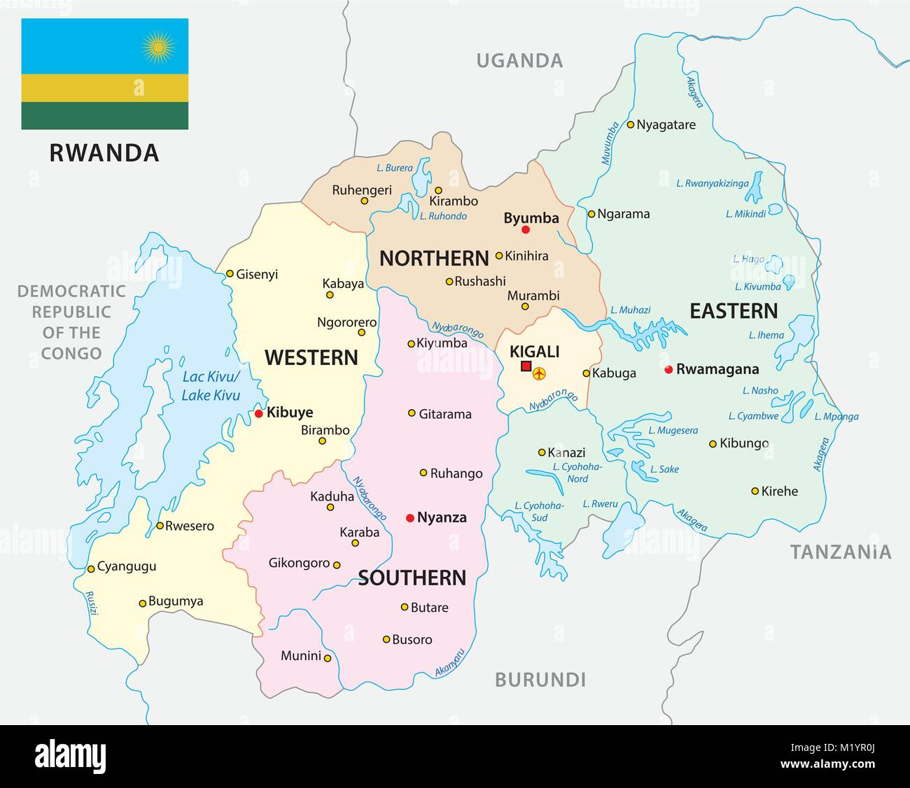 rwanda administrative and political vector map with flag - Stock Vector