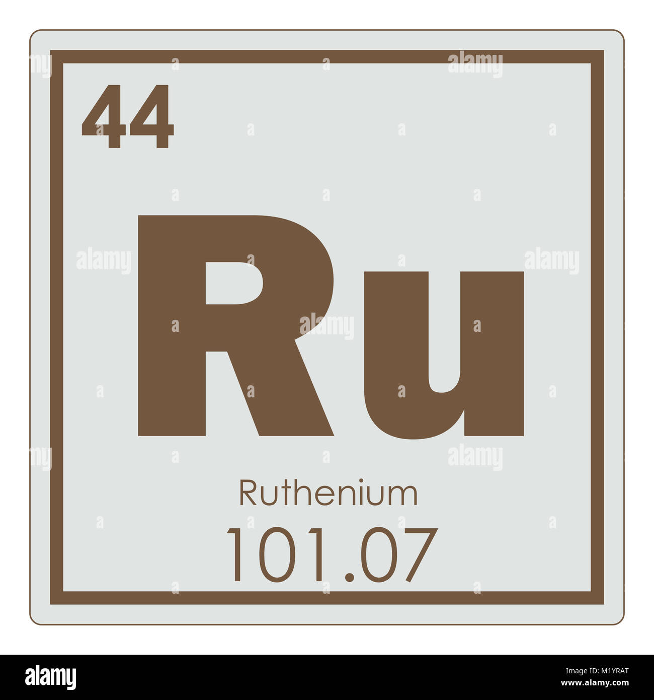 Ruthenium Chemical Element Periodic Table Science Symbol Stock Photo