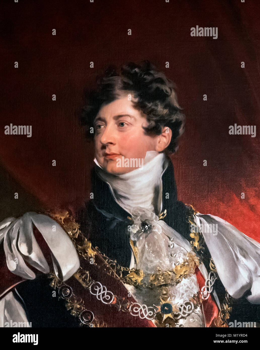 George IV. Portrait of King George IV, attributed to the studio of Sir Thomas Lawrence. Detail from a larger painting, - Stock Image