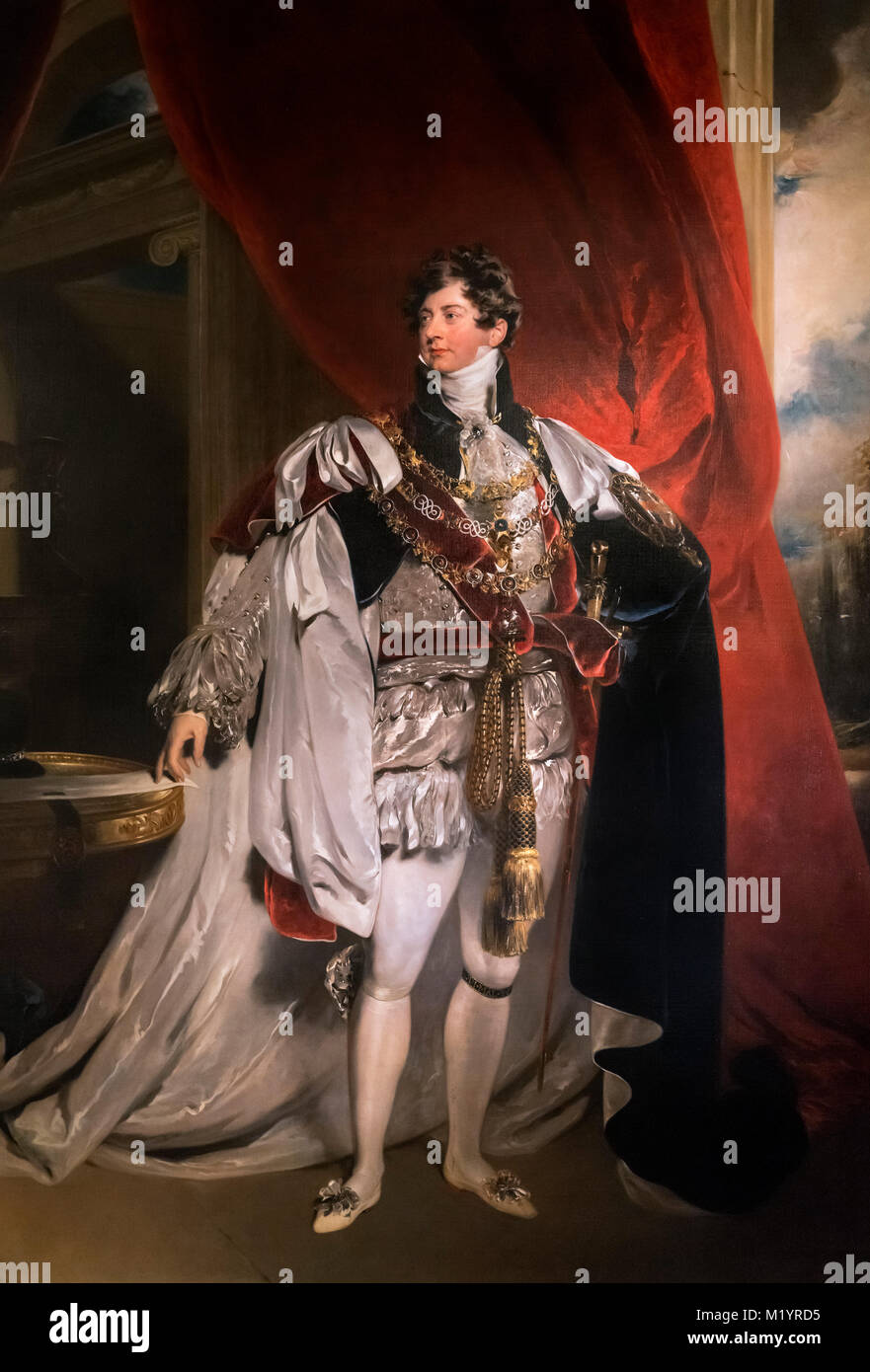 George IV. Portrait of King George IV, attributed to the studio of Sir Thomas Lawrence. - Stock Image