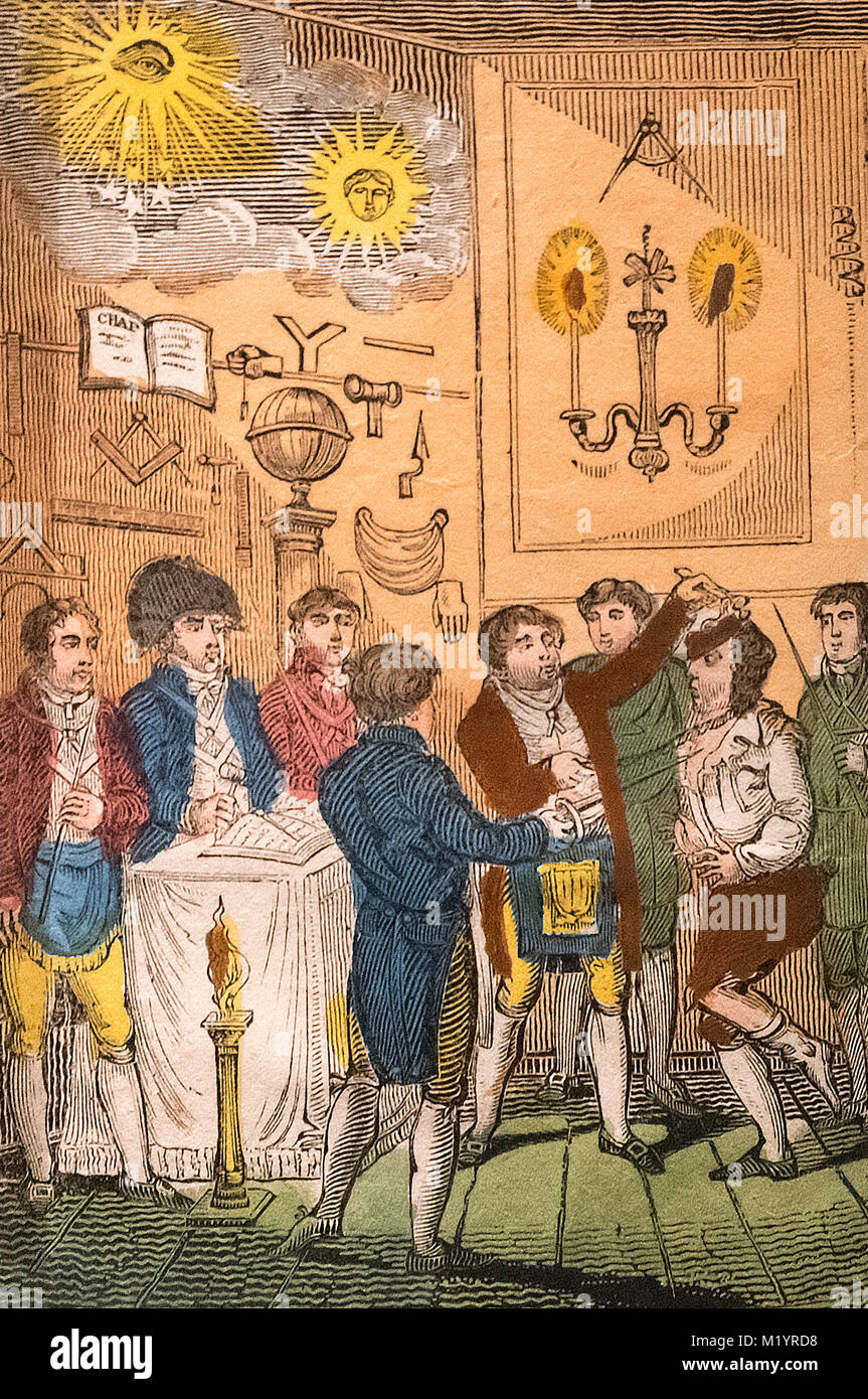 'The interior of a Masonic Lodge with the Ceremony of making a Mason', an illustration from The Three Distinct - Stock Image