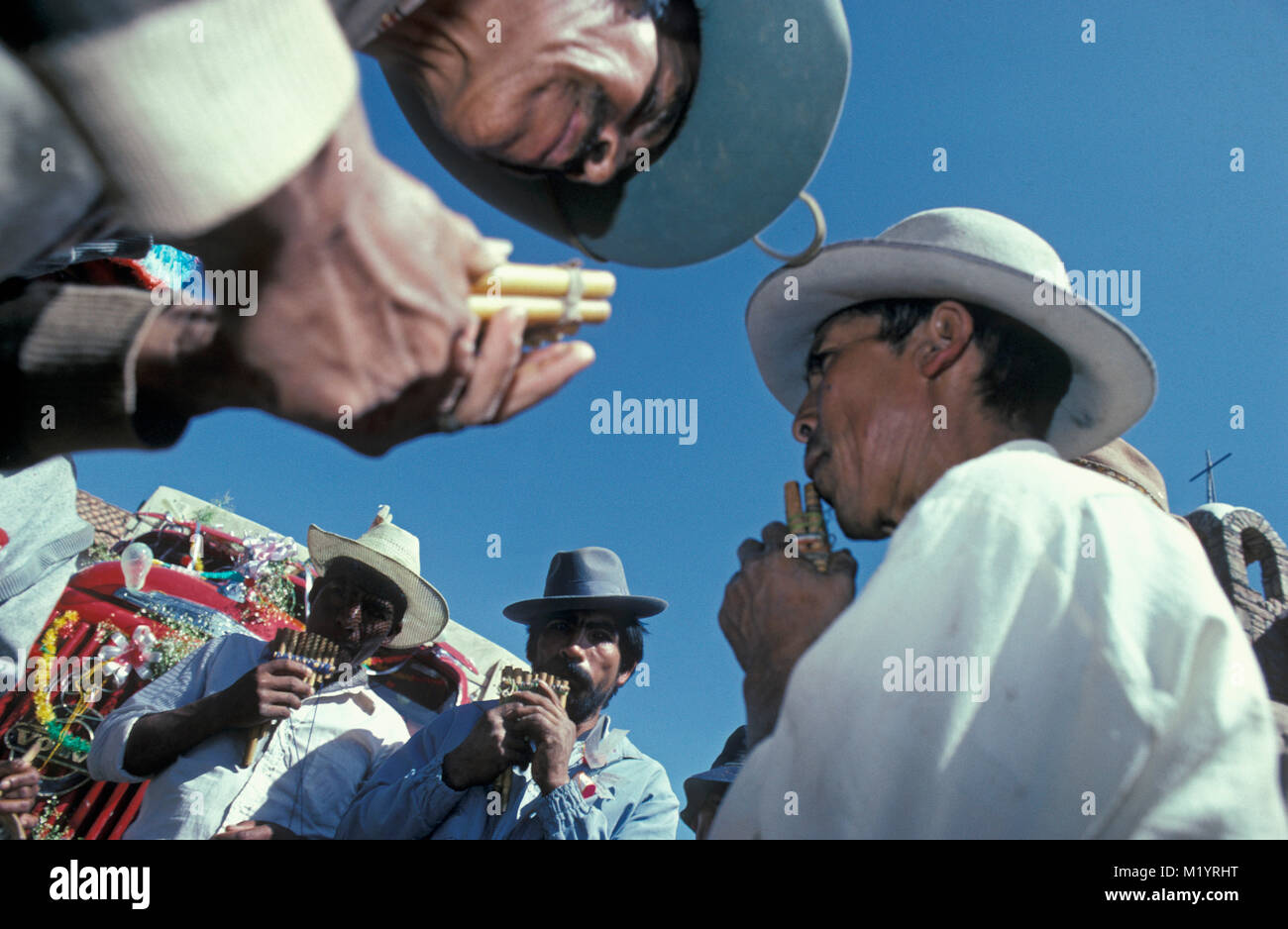 Bolivia.Toro Toro. Fiesta de Santiago. Annual religious festival of San Santiago on 25 July. Procession. Indian - Stock Image