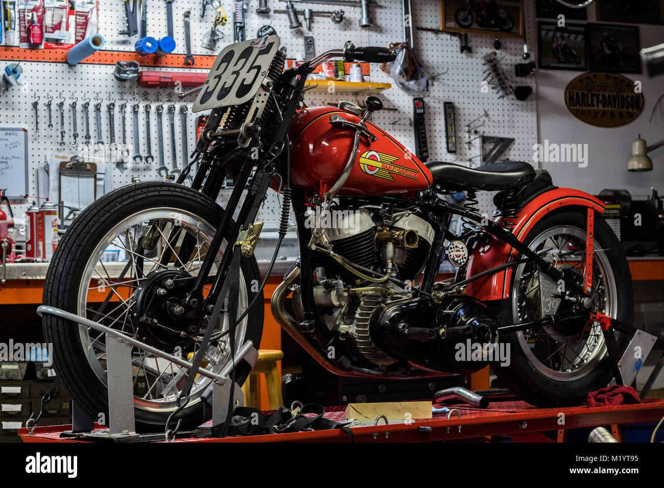 Inside A Motorcycle Garage That Builds Vintage Harleys Stock Photo