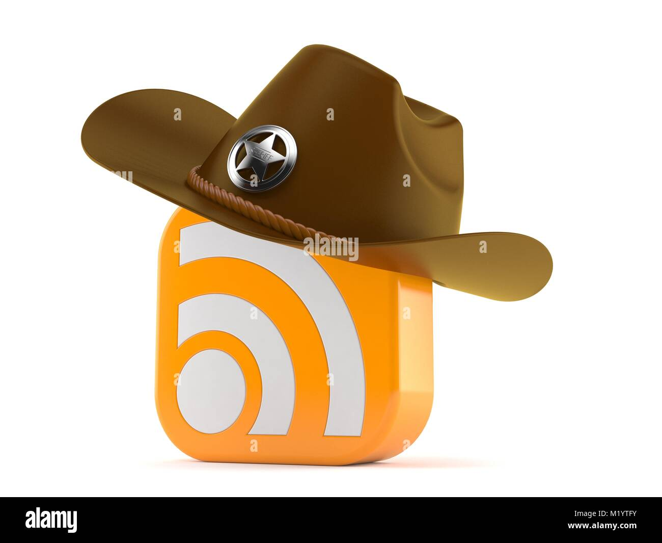 f0d33b0b Sheriff hat with rss icon isolated on white background Stock Photo ...