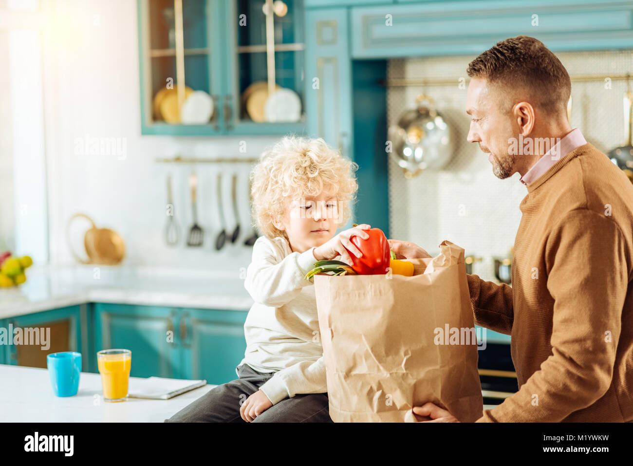 Pleasant curly boy helping his father - Stock Image