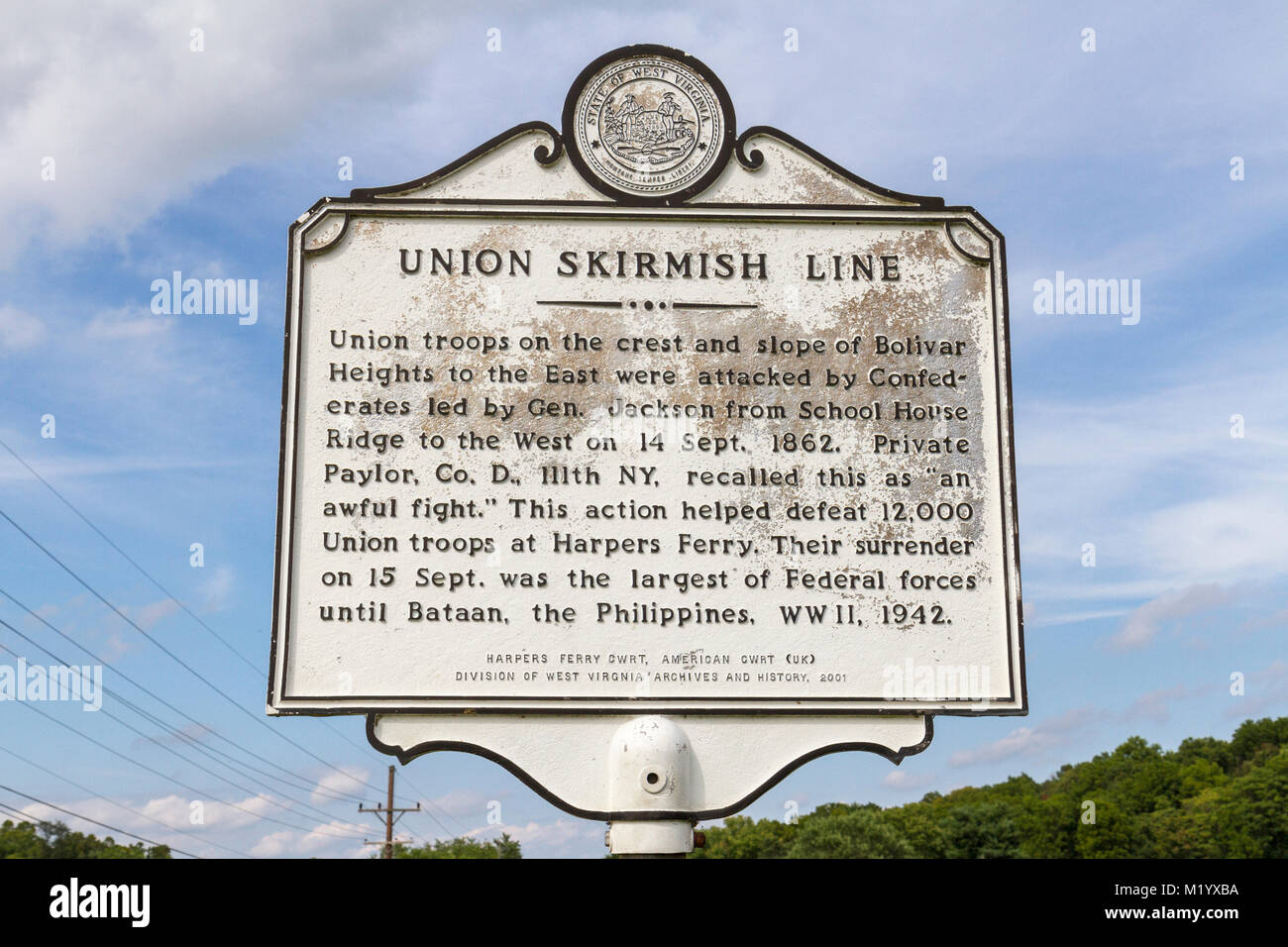 Union skirmish line marker part of the 1862 Battle of Harpers Ferry, West Virginia, United States. - Stock Image