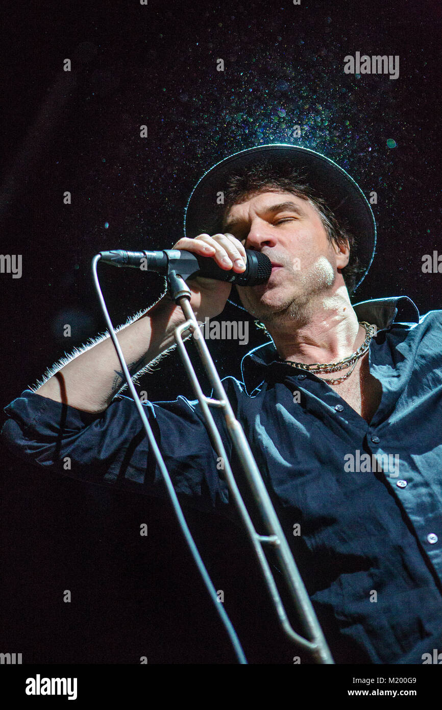 The Swedish singer, songwriter and rock musician Thåström performs a live concert at USF Verftet in Bergen. - Stock Image