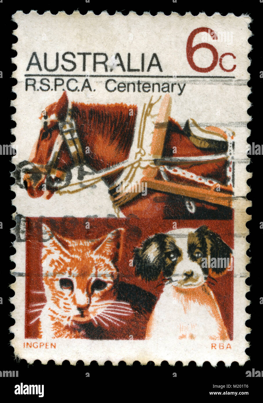 Postmarked stamp from Australia in the  Rspca series issued in 1971 - Stock Image