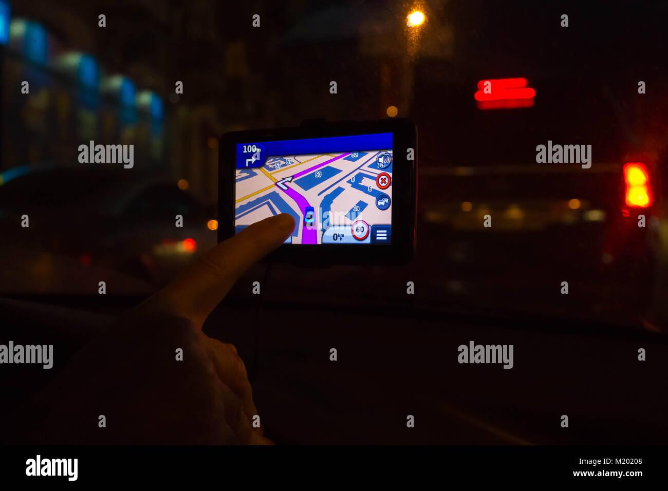 Navigation system in car - Stock Image