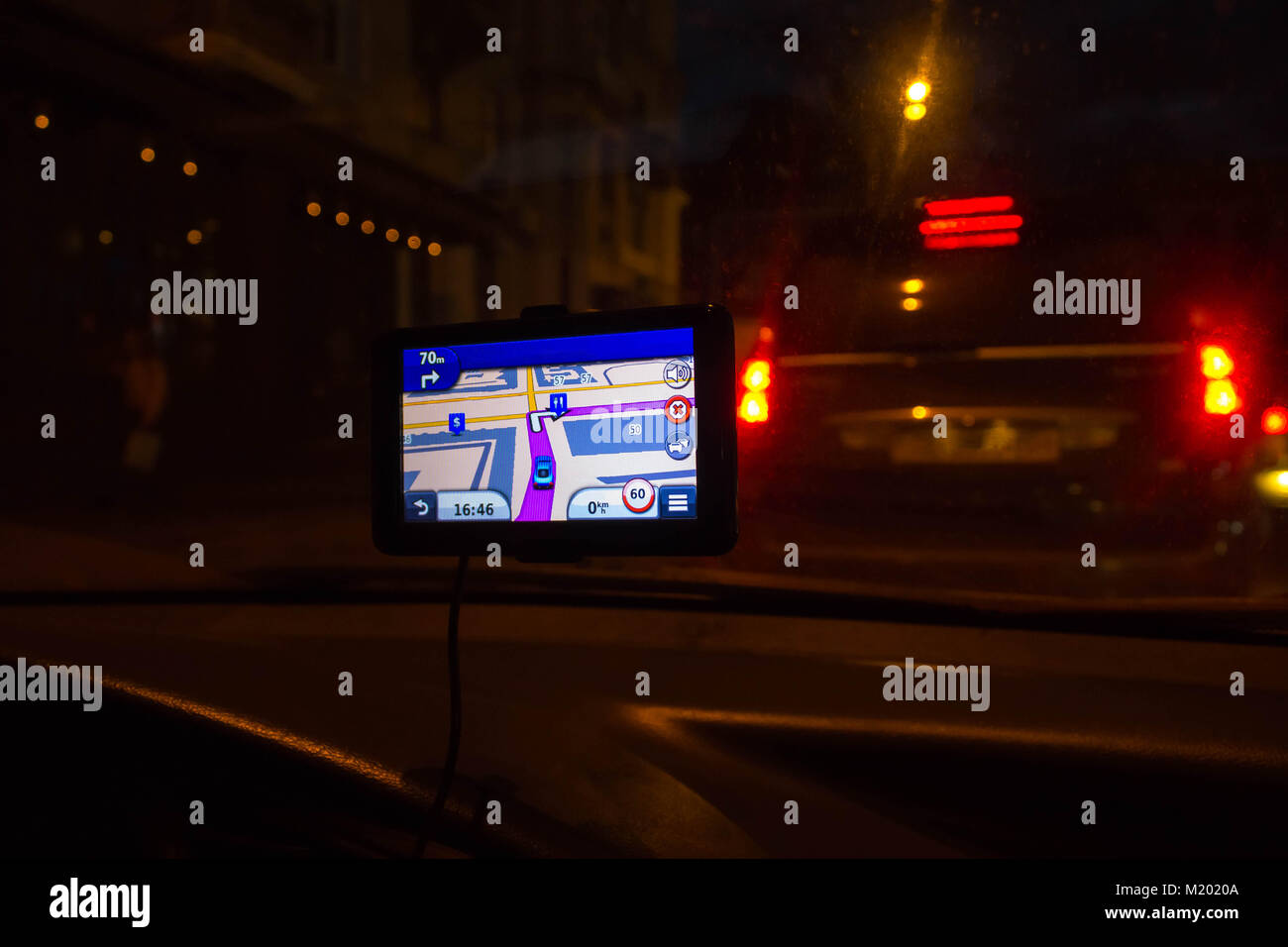 Navigation system in car Stock Photo