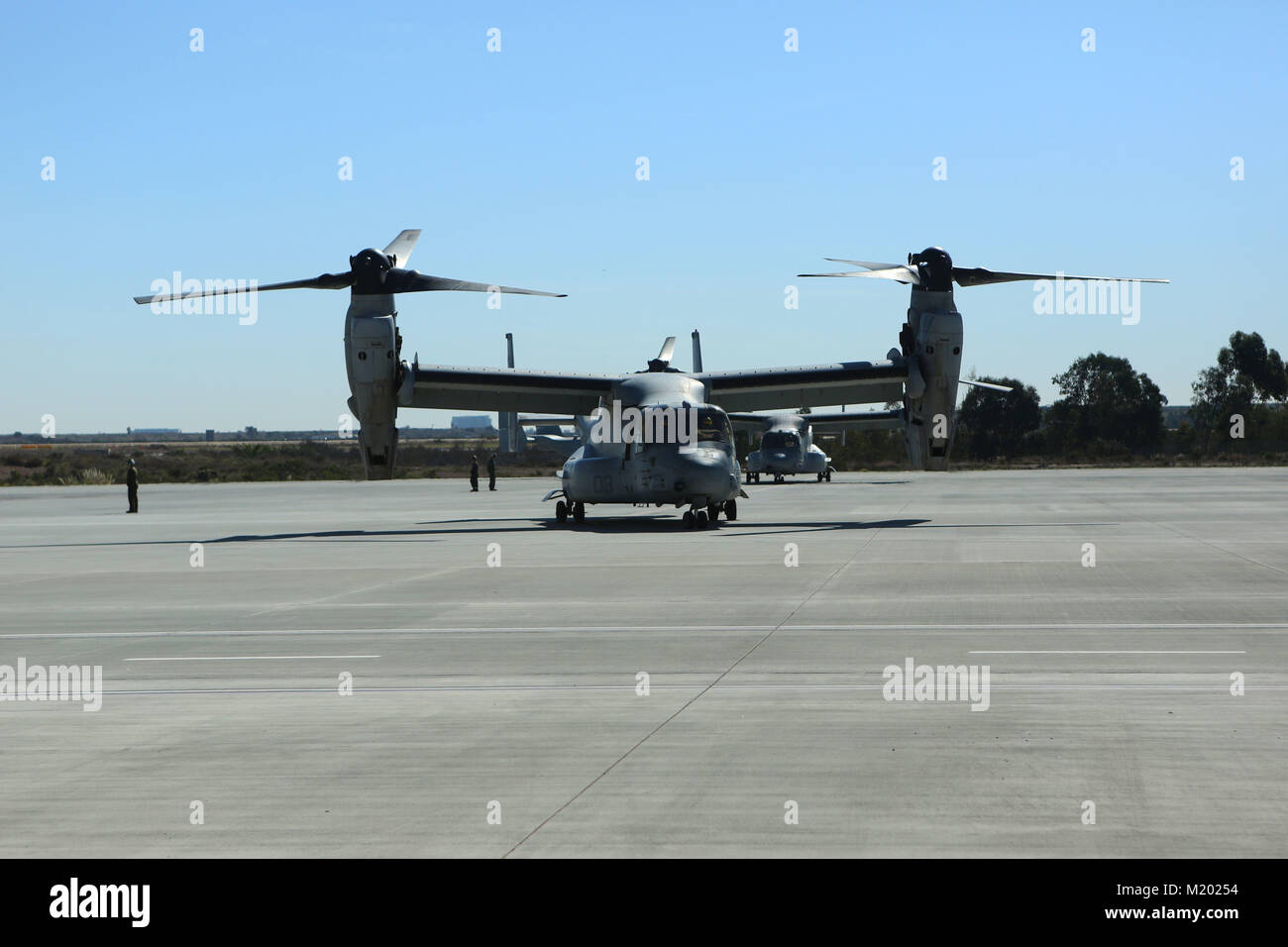 Marine Medium Tiltrotor Squadron (VMM) 161 (Reinforced) Ospreys return from the 15th Marine Expeditionary Unit at MCAS Miramar, Calif., Feb. 1. During the deployment, more than 4,500 Marines and Sailors of the America Amphibious Readiness Group and embarked 15th MEU conducted maritime security operations and multiple military-to-military exchanges with partner nations in support of regional security, stability and the free flow of maritime commerce in the Indo-Asia-Pacific and Middle East regions. (U.S. Marine Corps photo by Sgt. David Bickel/Released) Stock Photo