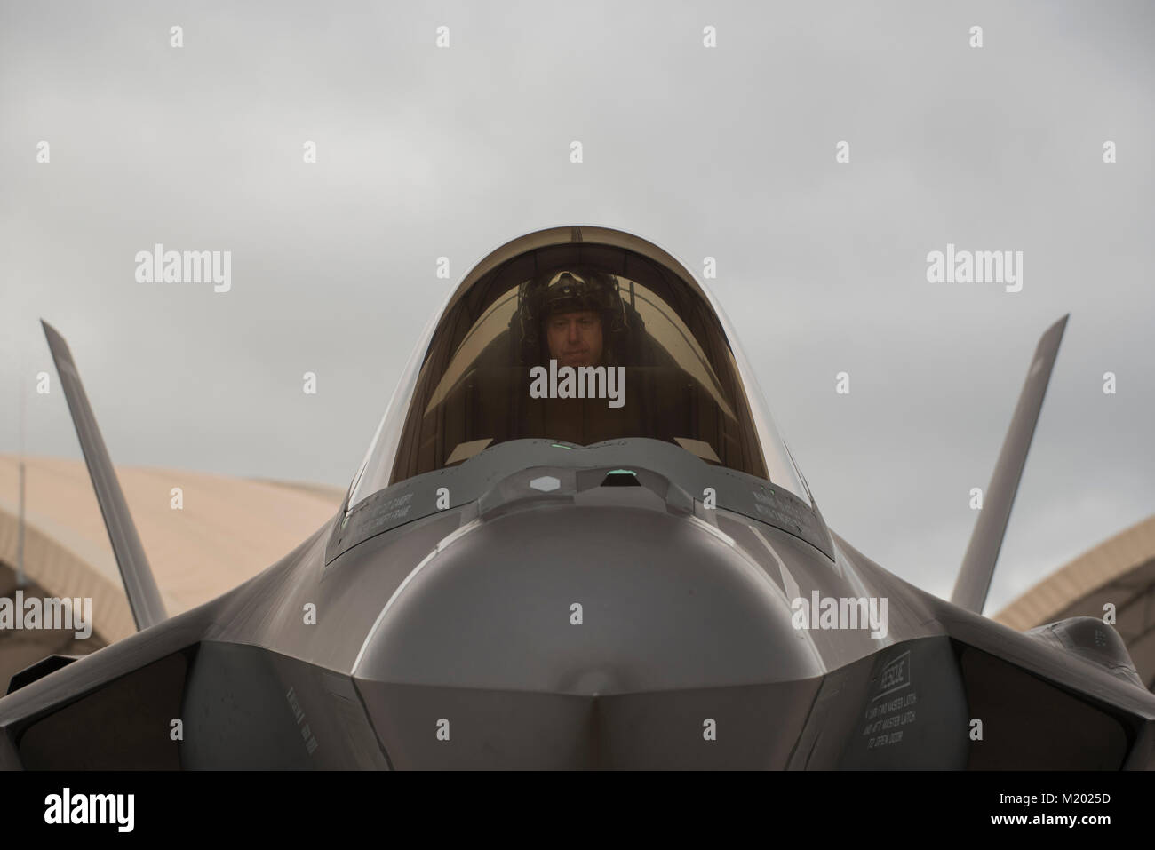 U.S Air Force Lt. Col. Bradley Turner, 86th Fighter Weapons Squadron F-35 lead evaluator, sits in an F-35A Lightning - Stock Image