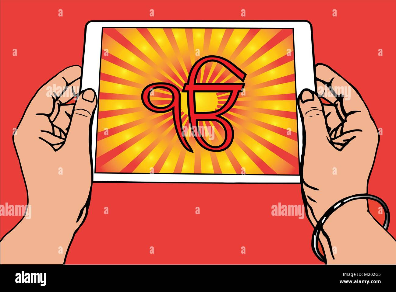 Hands holding a tablet on which the Ek Onkar is the symbol of Sikhism. Red and gold gradient rays, red background. - Stock Vector
