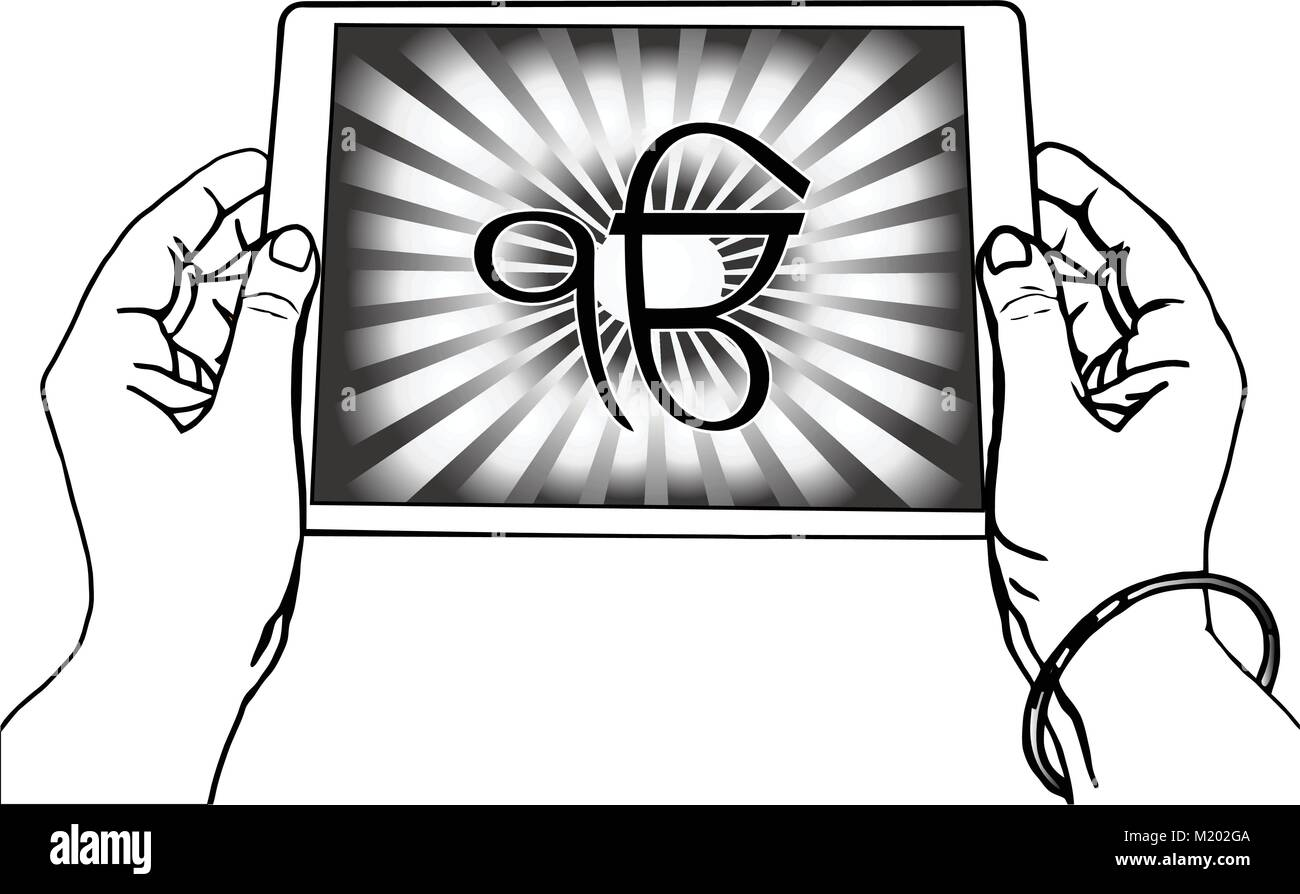 Sikhism symbol stock photos sikhism symbol stock images alamy hands holding a tablet on which the ek onkar is the symbol of sikhism black biocorpaavc Gallery