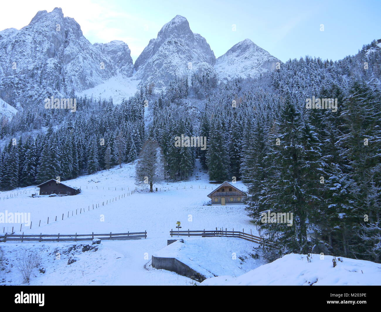 Wonderful winter landscape with view of mountains, forest, little huts and park bench covered in fresh snow in Austria - Stock Image