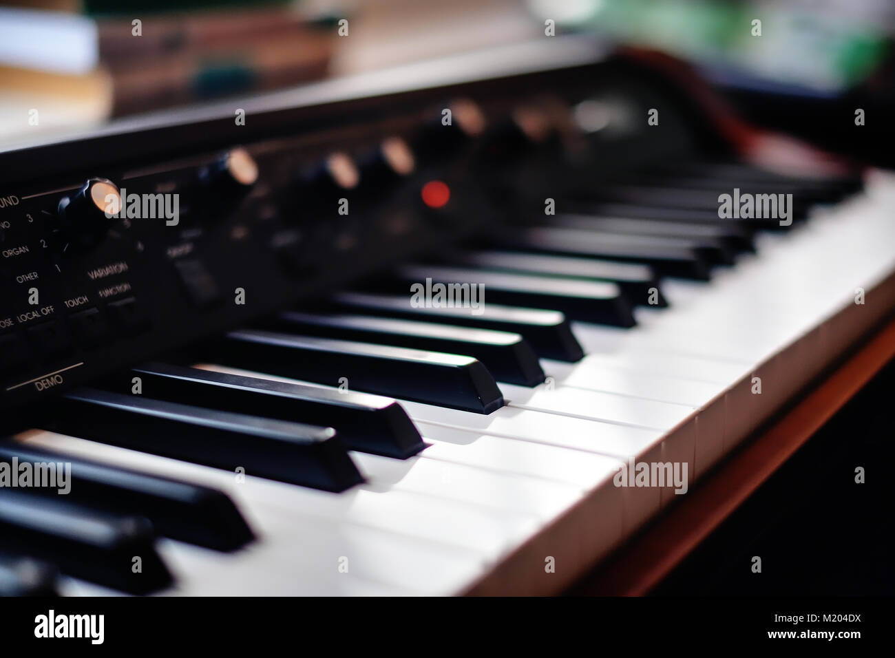 Close-up of a beautiful vintage keyboard in a recording