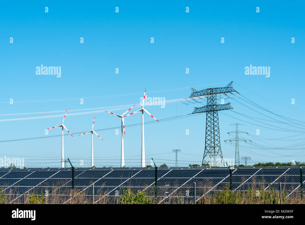 Renewable energy and transmission lines seen in Germany - Stock Image