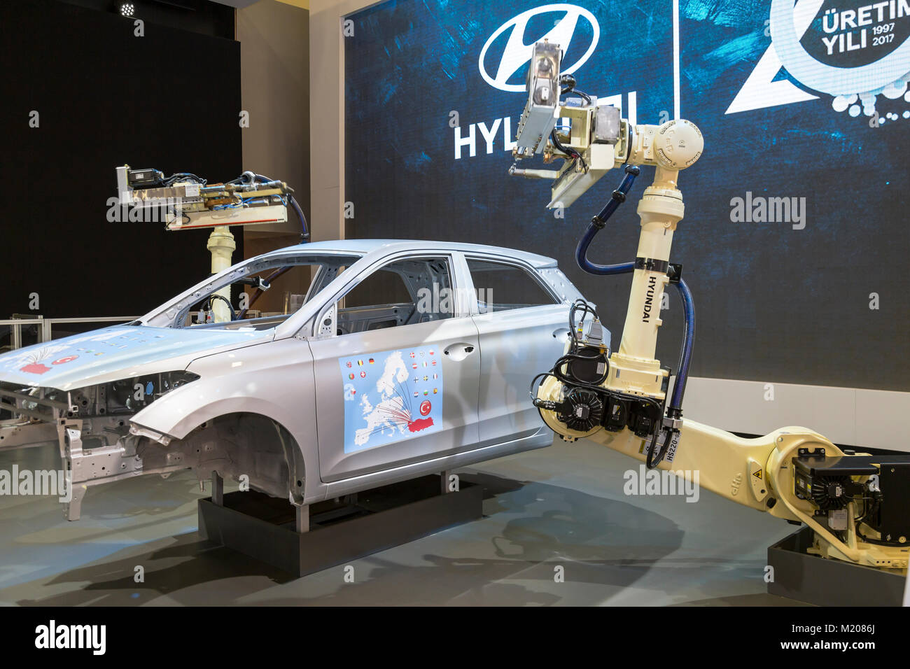 Istanbul, Turkey - April 21, 2017: During the production of Hyundai Car, which is the most growth company in last - Stock Image