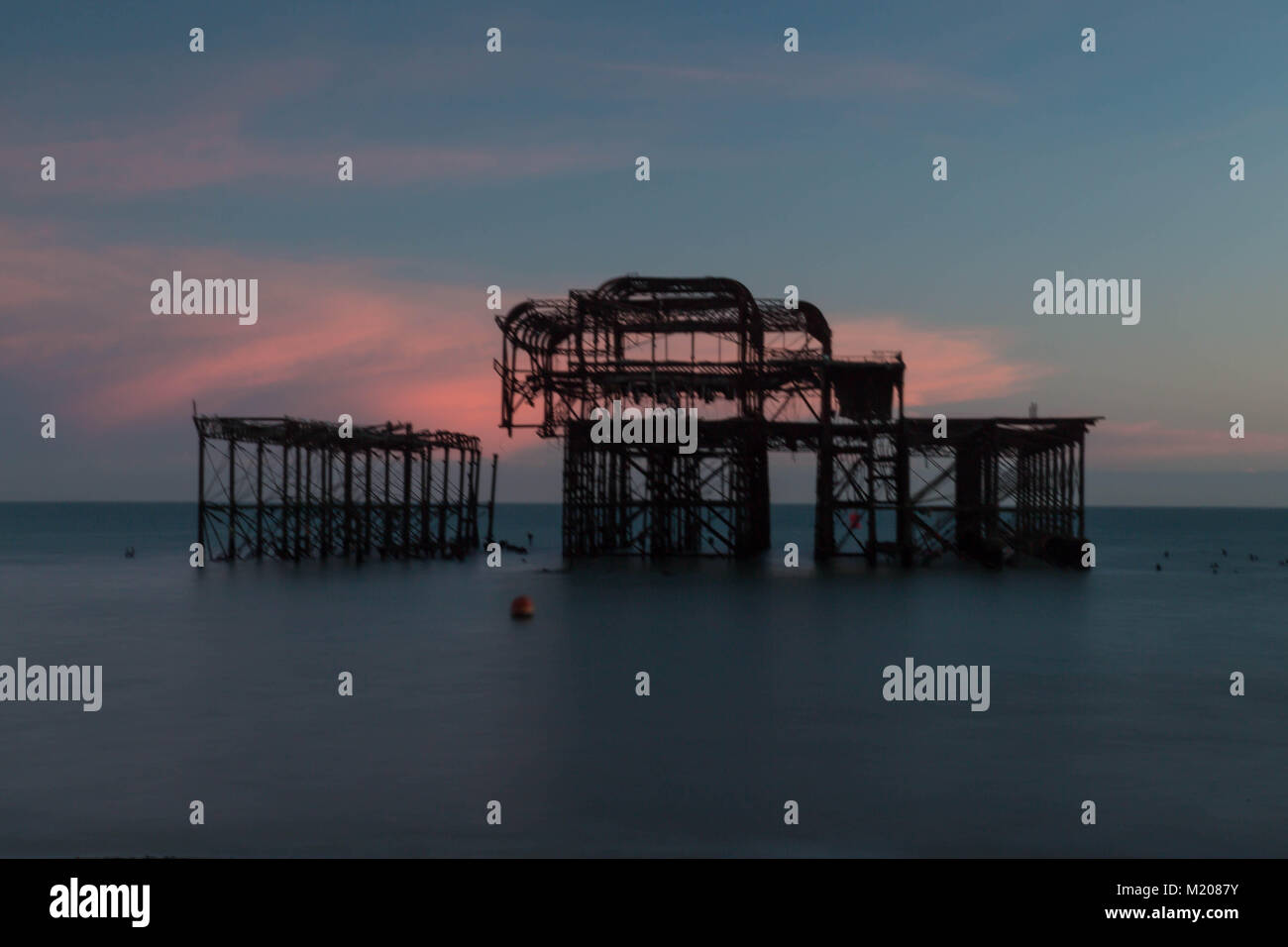 Brighton beach sunset and i360 - Stock Image