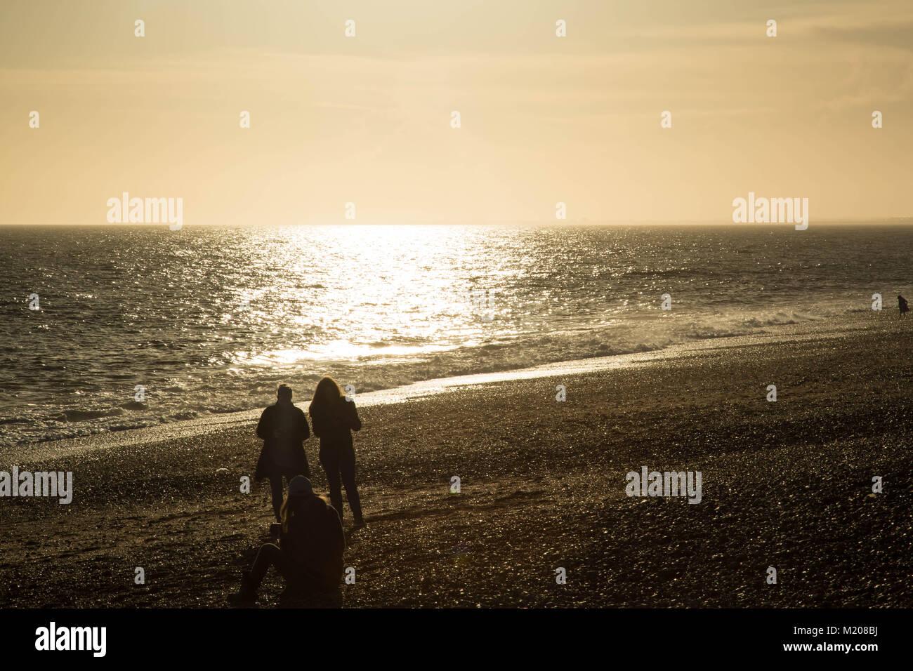 Brighton beach sunset and i360 - Stock Image